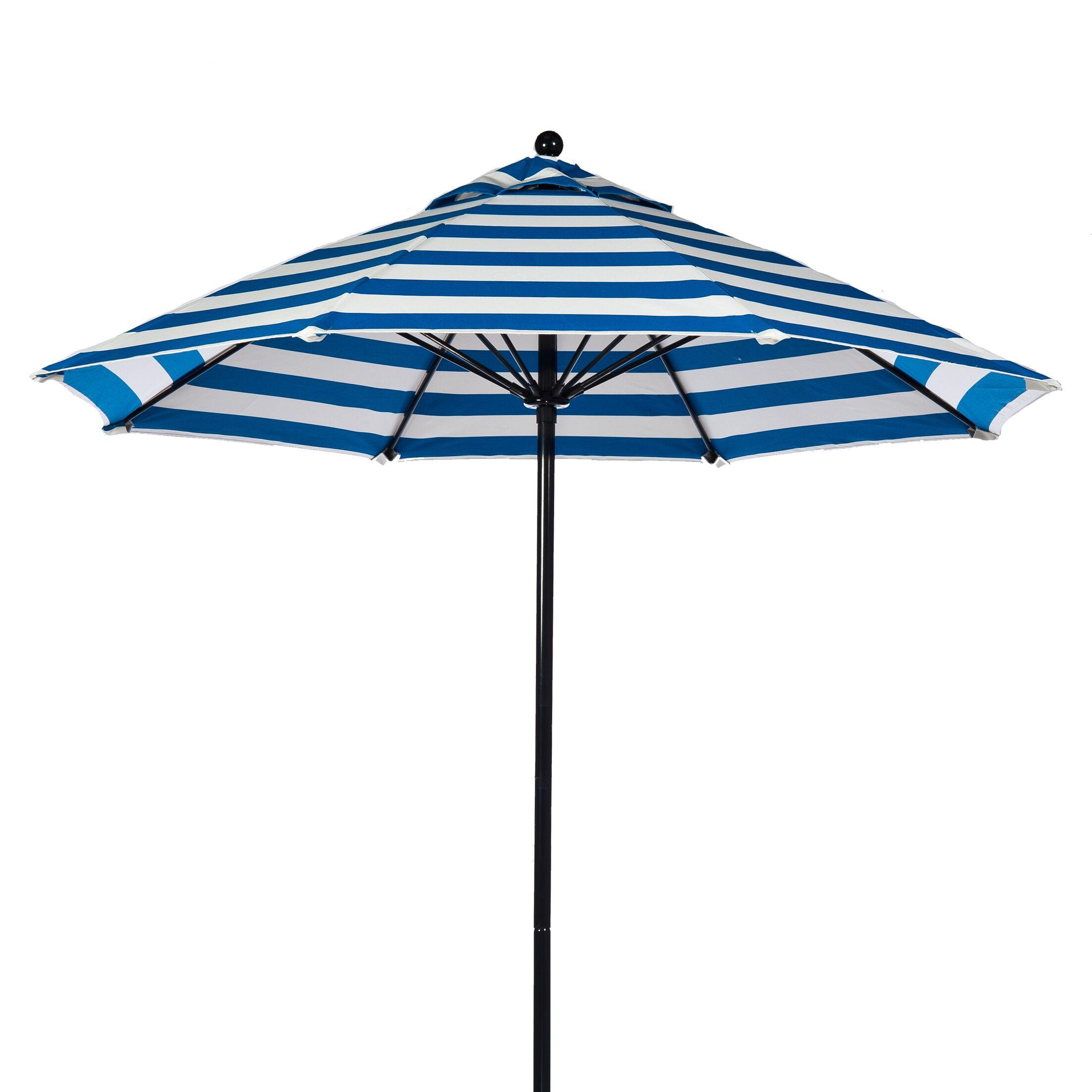 9' Market Umbrella Pole Type: Bronze Coated Aluminum Pole, Fabric: Black and White Stripe