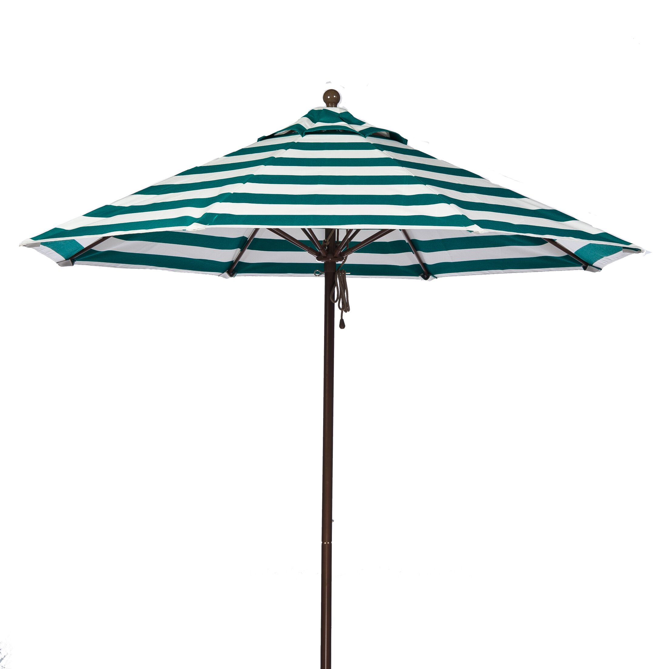 9' Market Umbrella Fabric: Teal and White Stripe, Pole Type: Bronze Coated Aluminum Pole