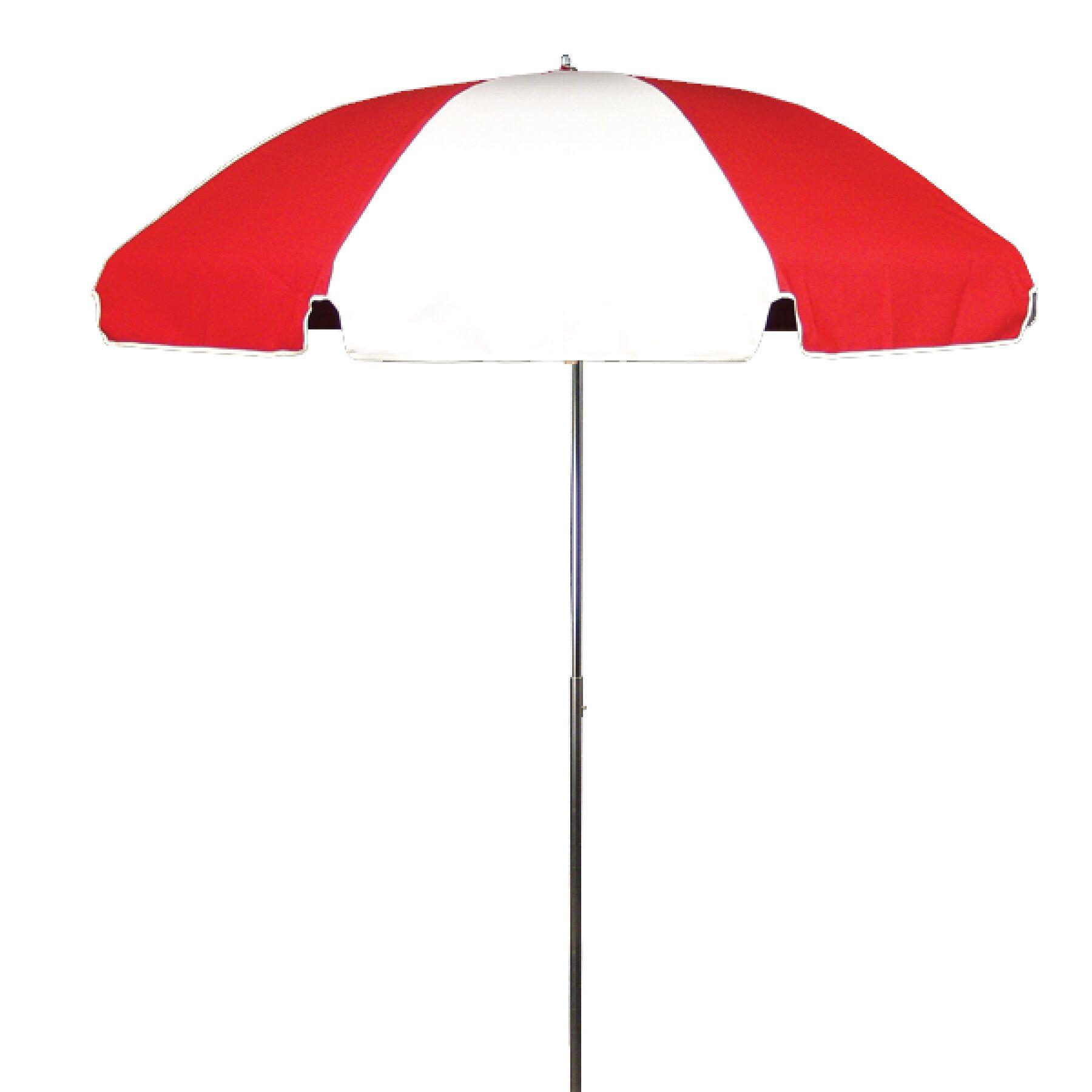 7.5' Drape Umbrella Fabric: Logo Red and White