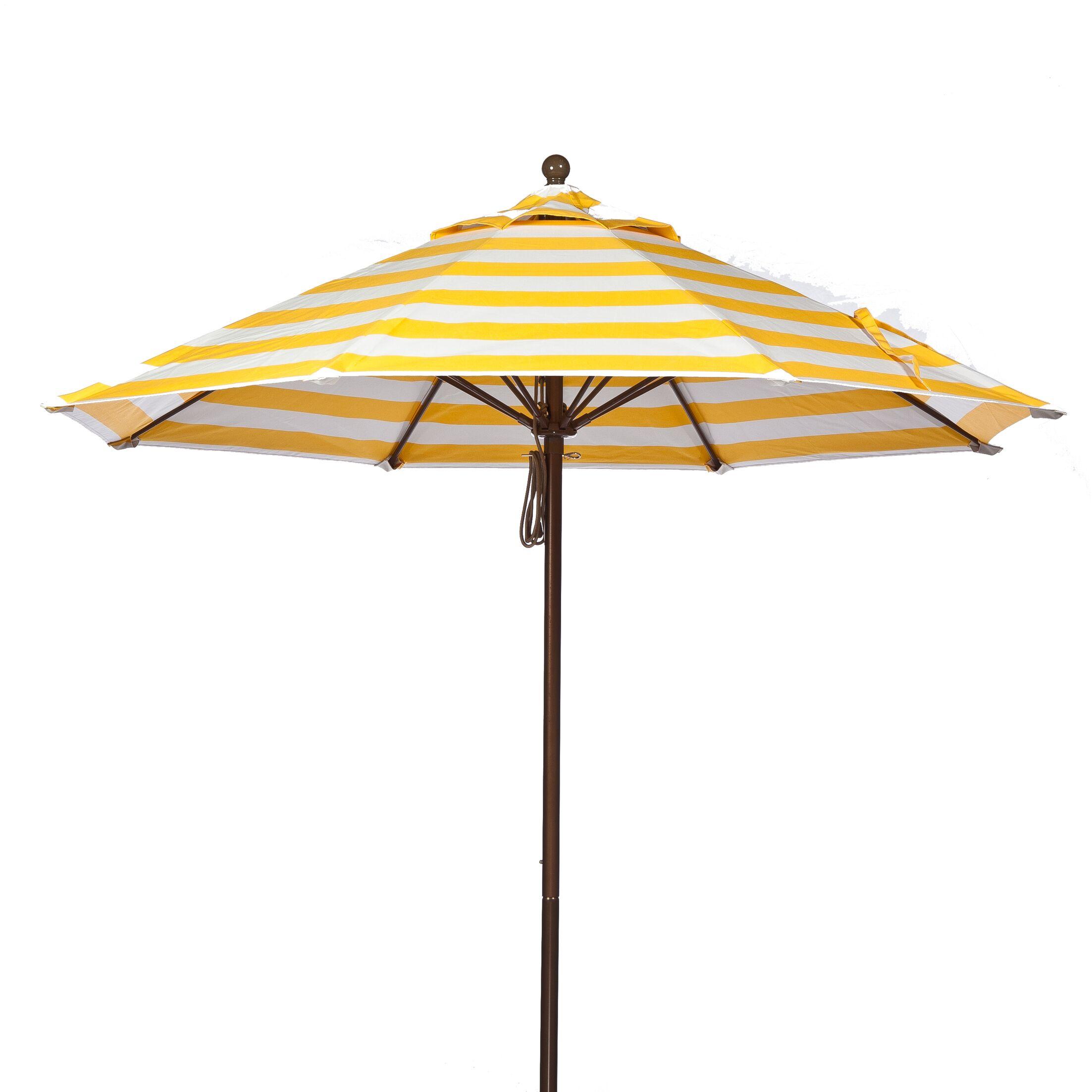 11' Market Umbrella Pole Type: Bronze Coated Aluminum Pole, Fabric: Yellow and White Stripe