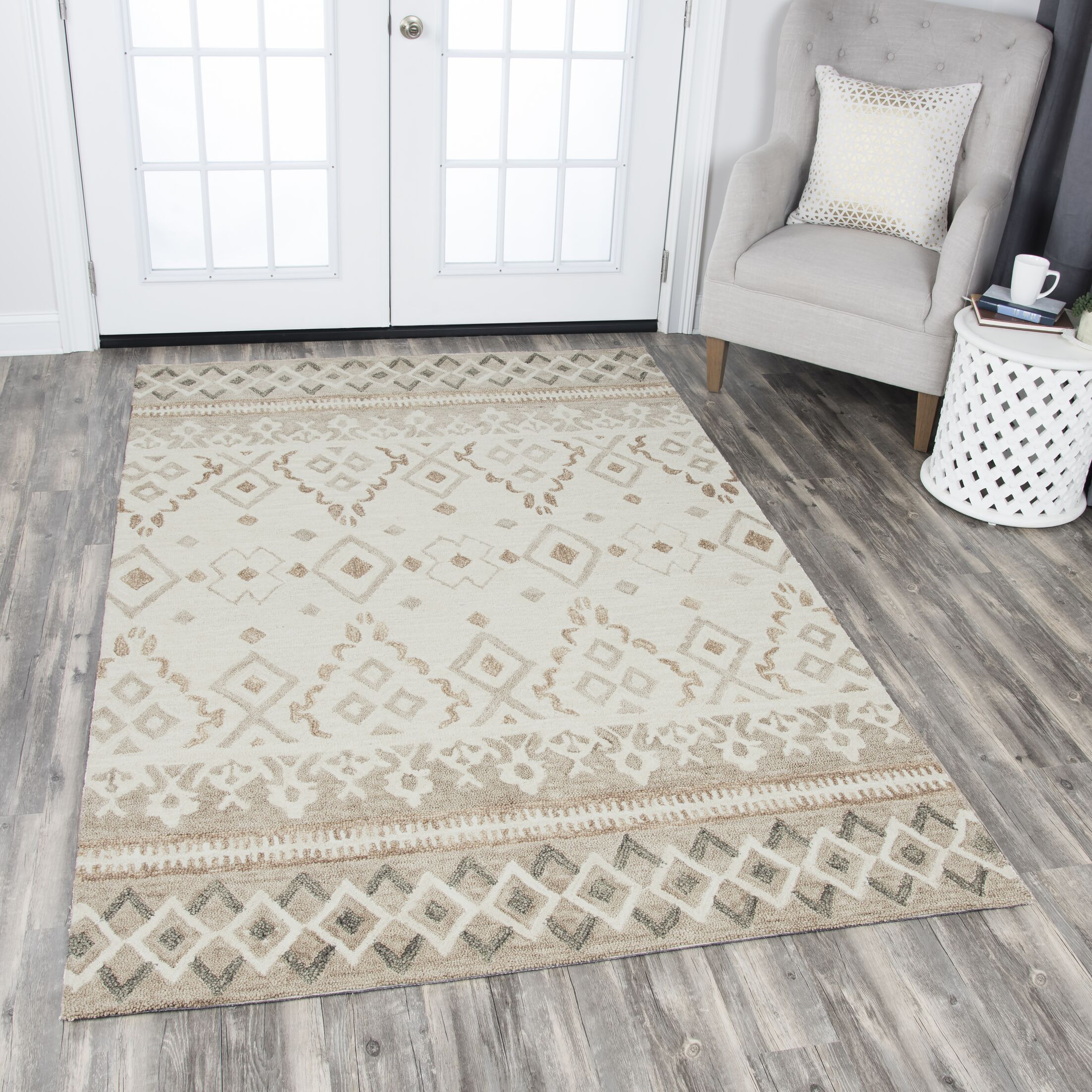 Sorensen Hand-Tufted Natural Area Rug Rug Size: Rectangle 8' x 10'