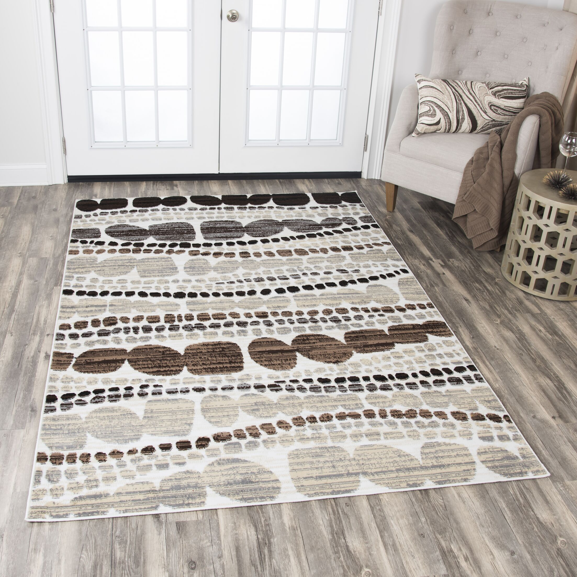 Jordon Ivory/Black Area Rug Rug Size: Rectangle 5'2