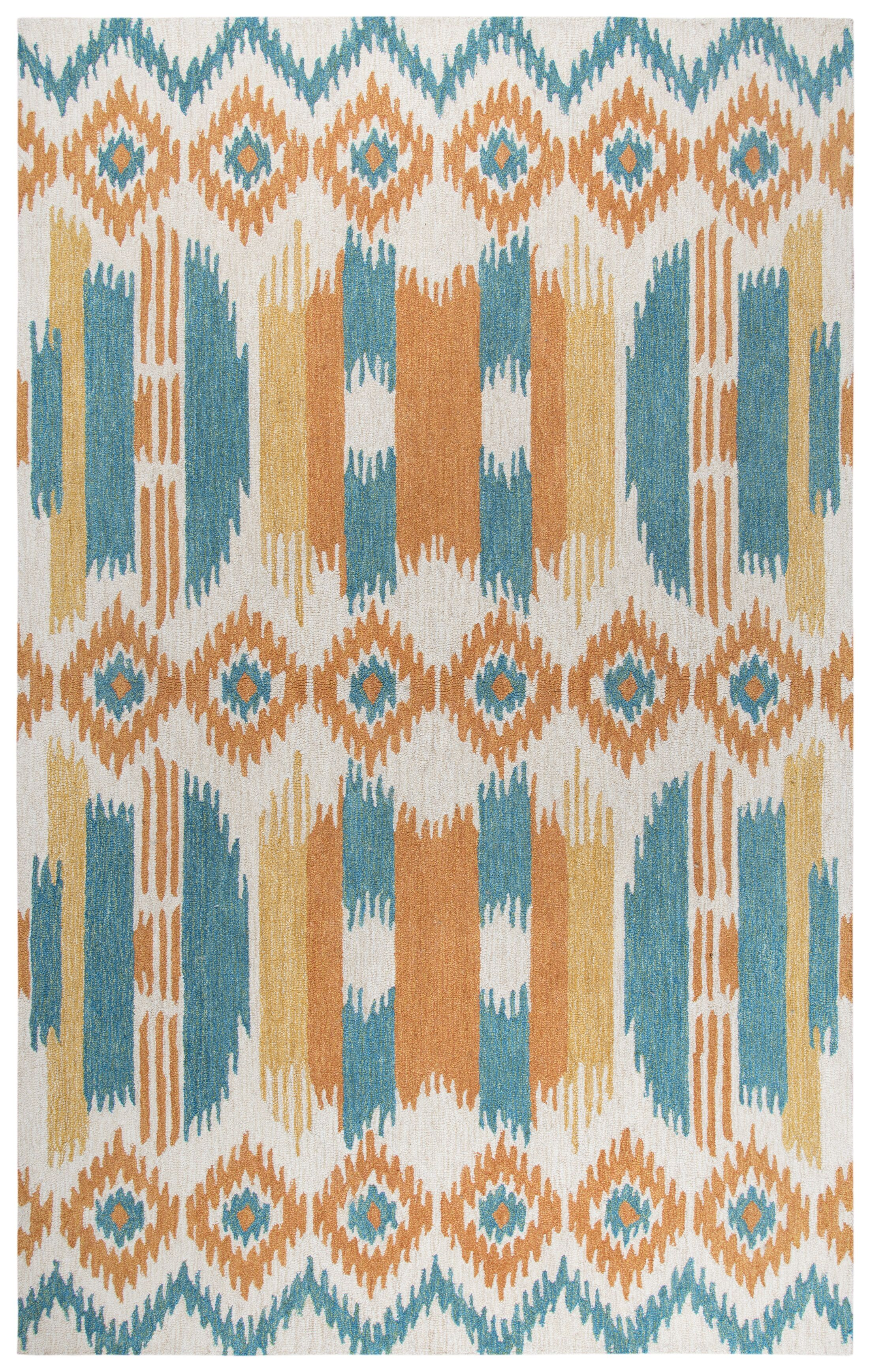 Duron Hand-Tufted Wool Blue/Natural Area Rug Rug Size: Rectangle 5' x 8'