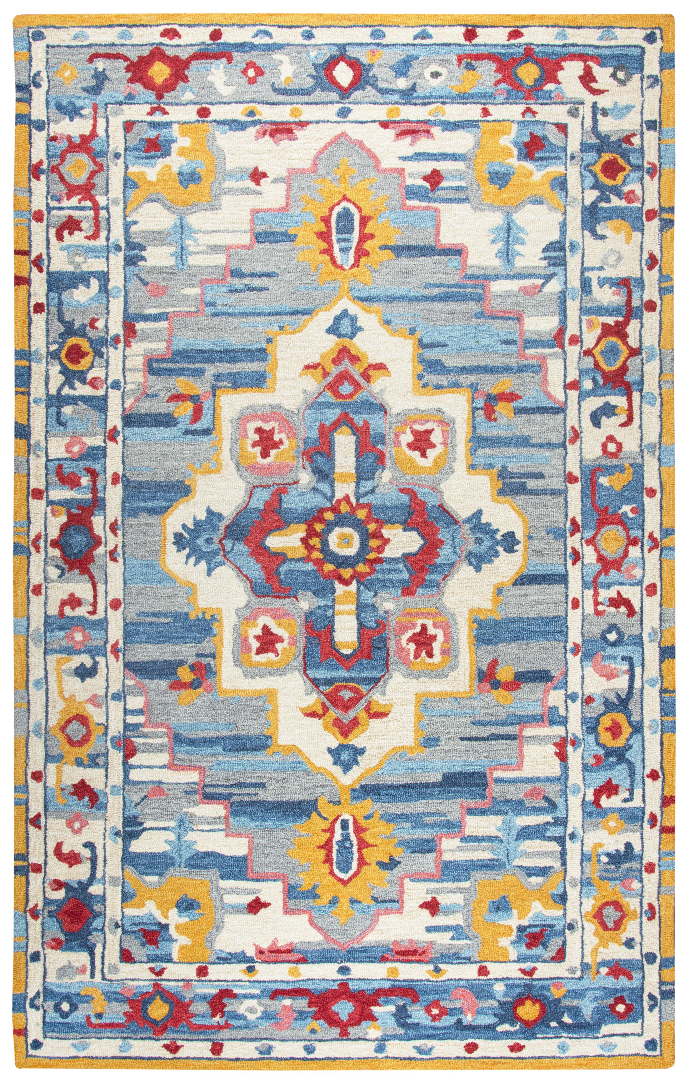 Duron Hand-Tufted Wool Natural/Blue Area Rug Rug Size: Rectangle 2'6