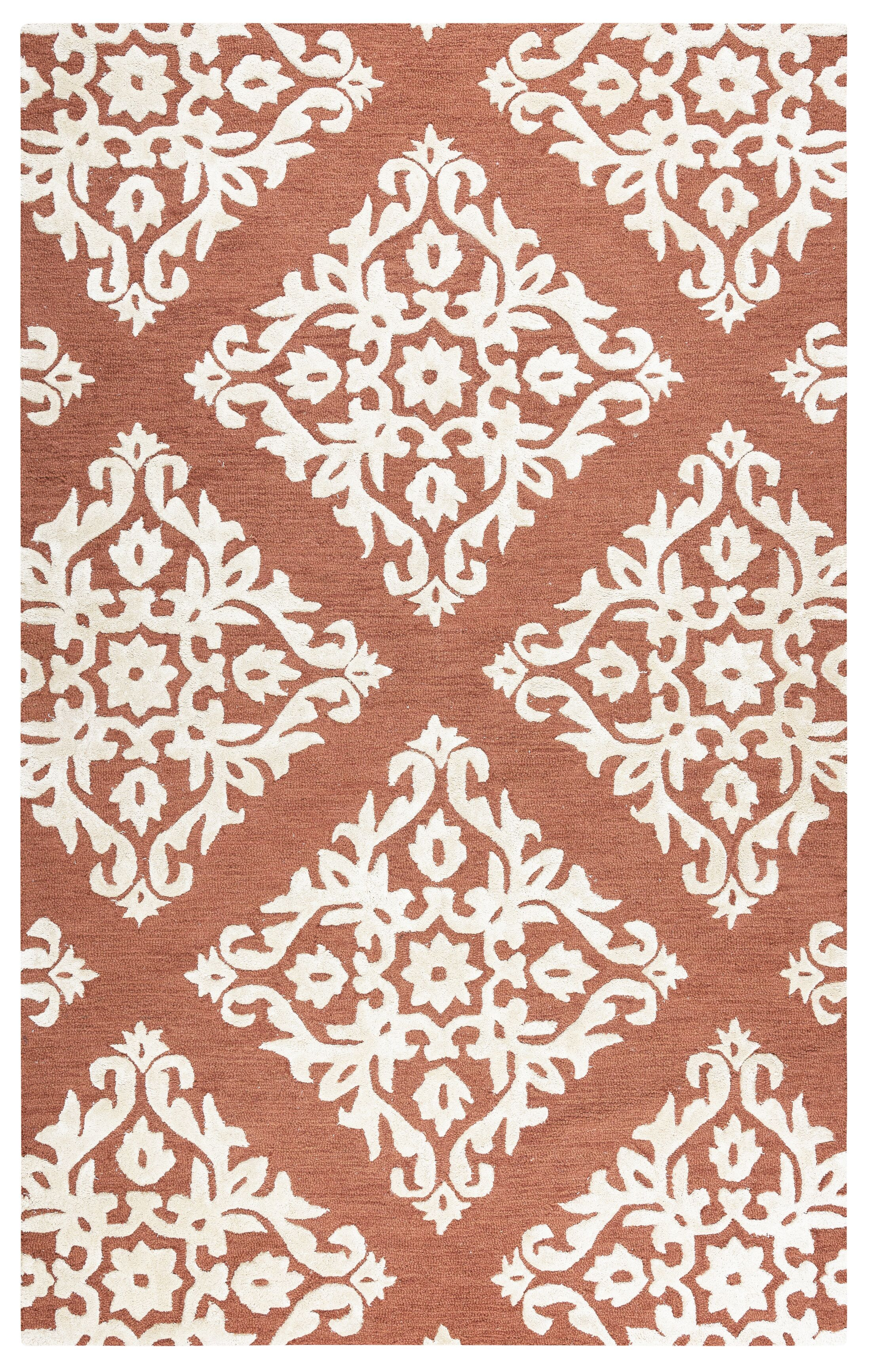 Aero Hand Tufted Wool Rust Area Rug Rug Size: Rectangle 9' x 12'