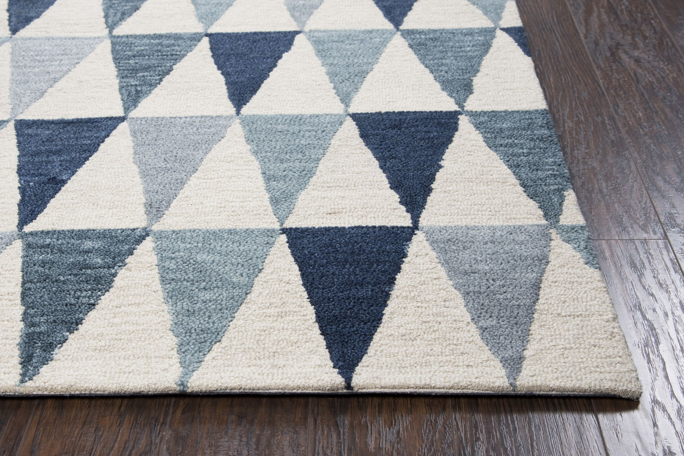 Malcolm Hand-Tufted Wool Gray/Blue Area Rug Rug Size: Rectangle 8' x 10'