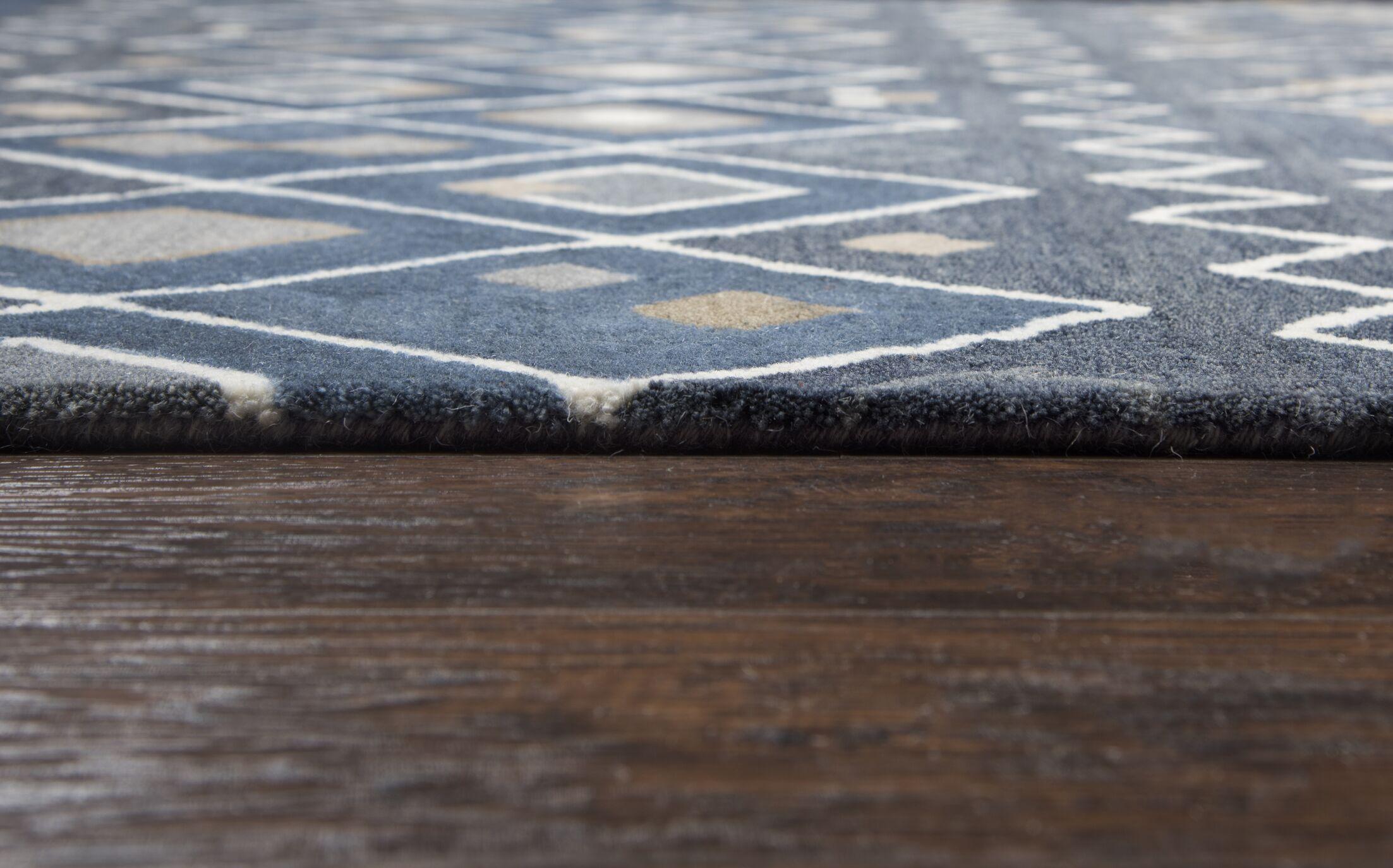 Nona Hand-Tufted Wool Indigo Area Rug Rug Size: Rectangle 9' x 12'