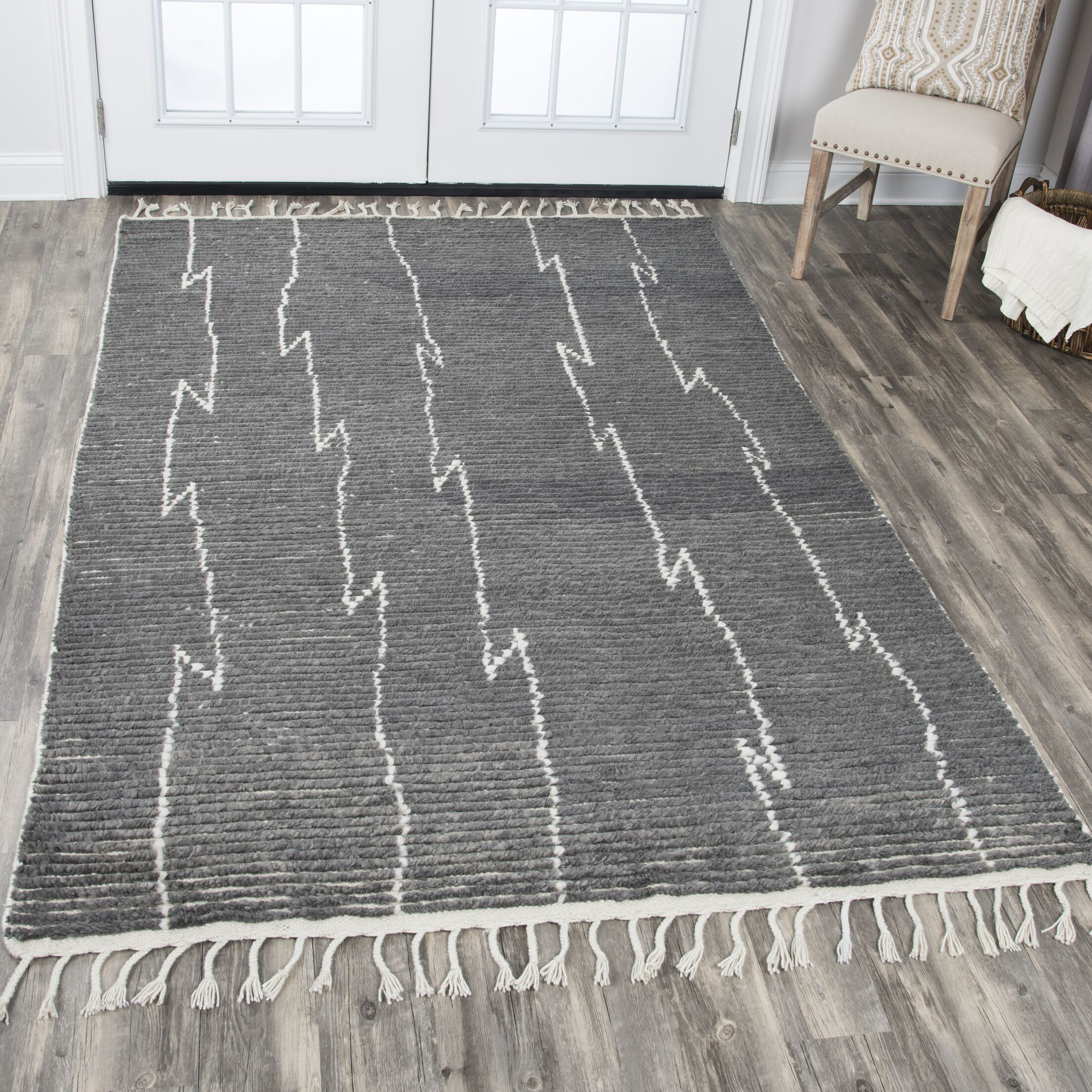 Doleman Hand-Knotted Wool Gray Area Rug Rug Size: Rectangle 5'6