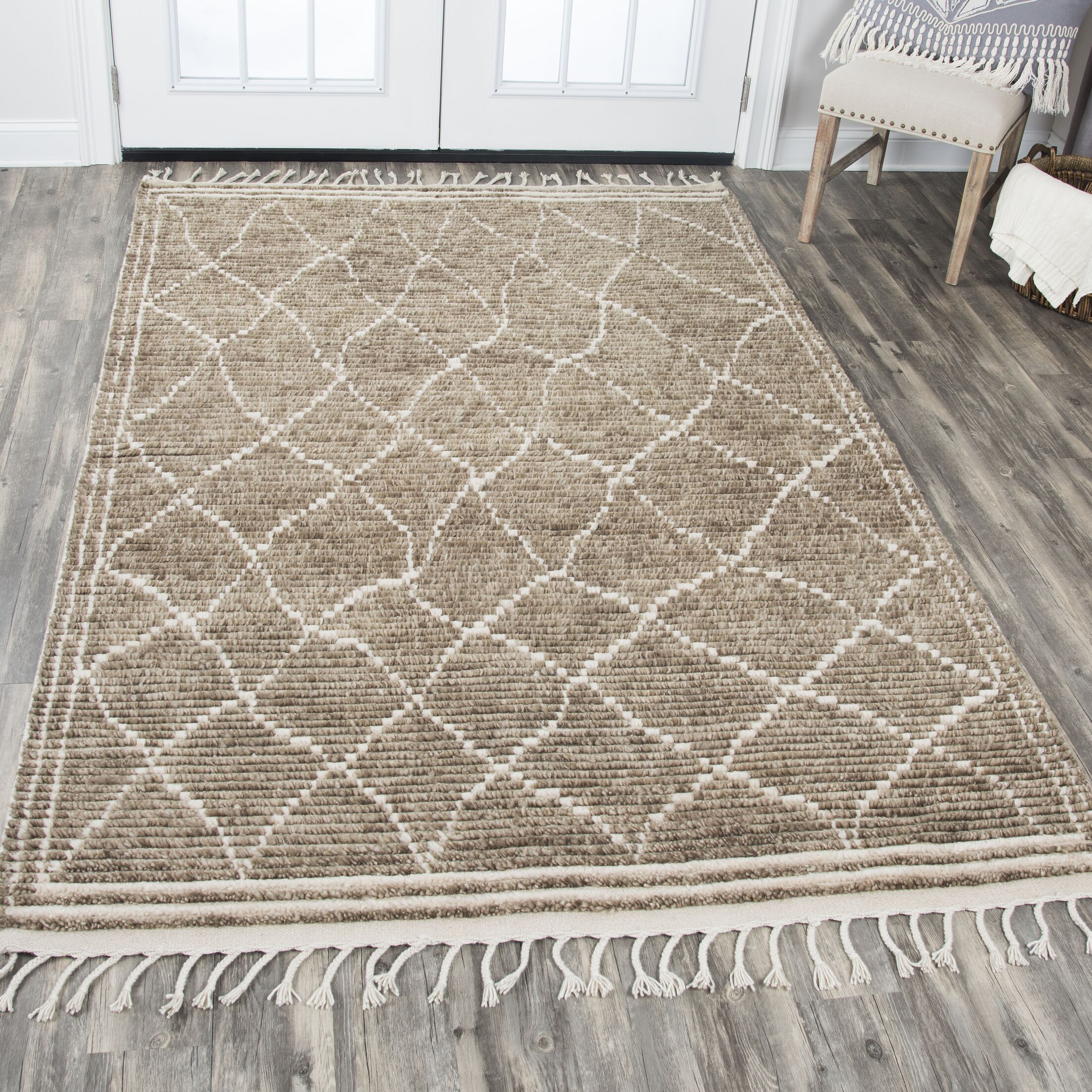 Doleman Hand-Knotted Wool Brown Area Rug Rug Size: Rectangle 8'9
