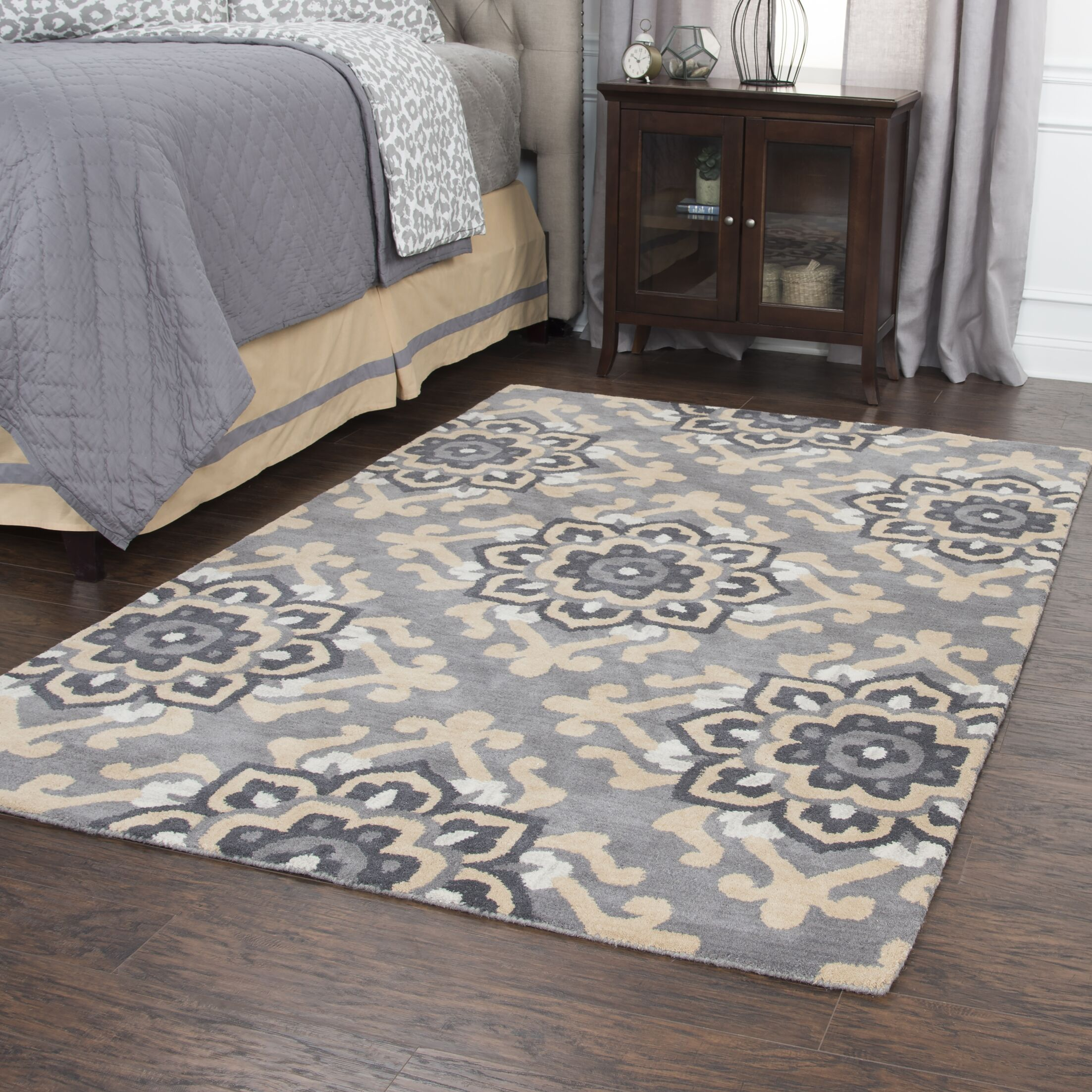 Raj Hand-Tufted Wool Gray Area Rug Rug Size: Rectangle 5' x 8'