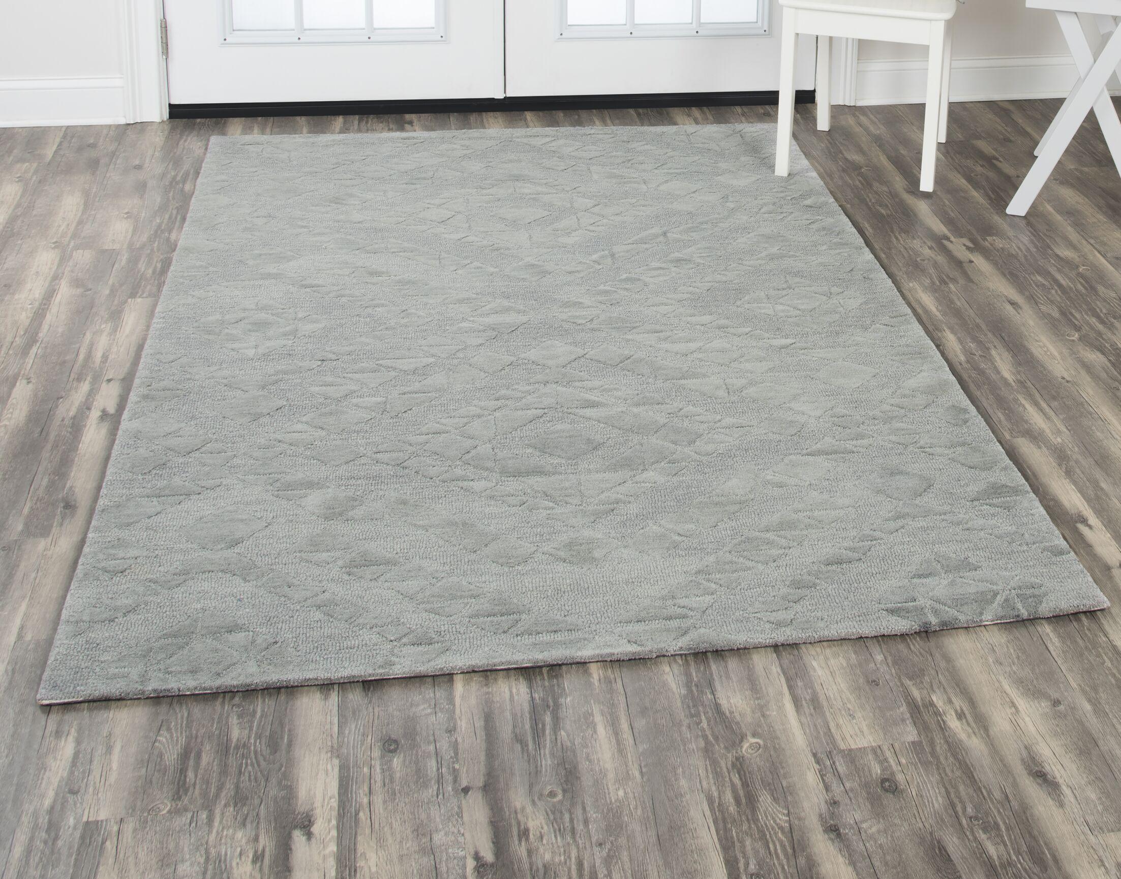Phan Hand-Tufted Wool Gray Area Rug Rug Size: Rectangle9' x 12'