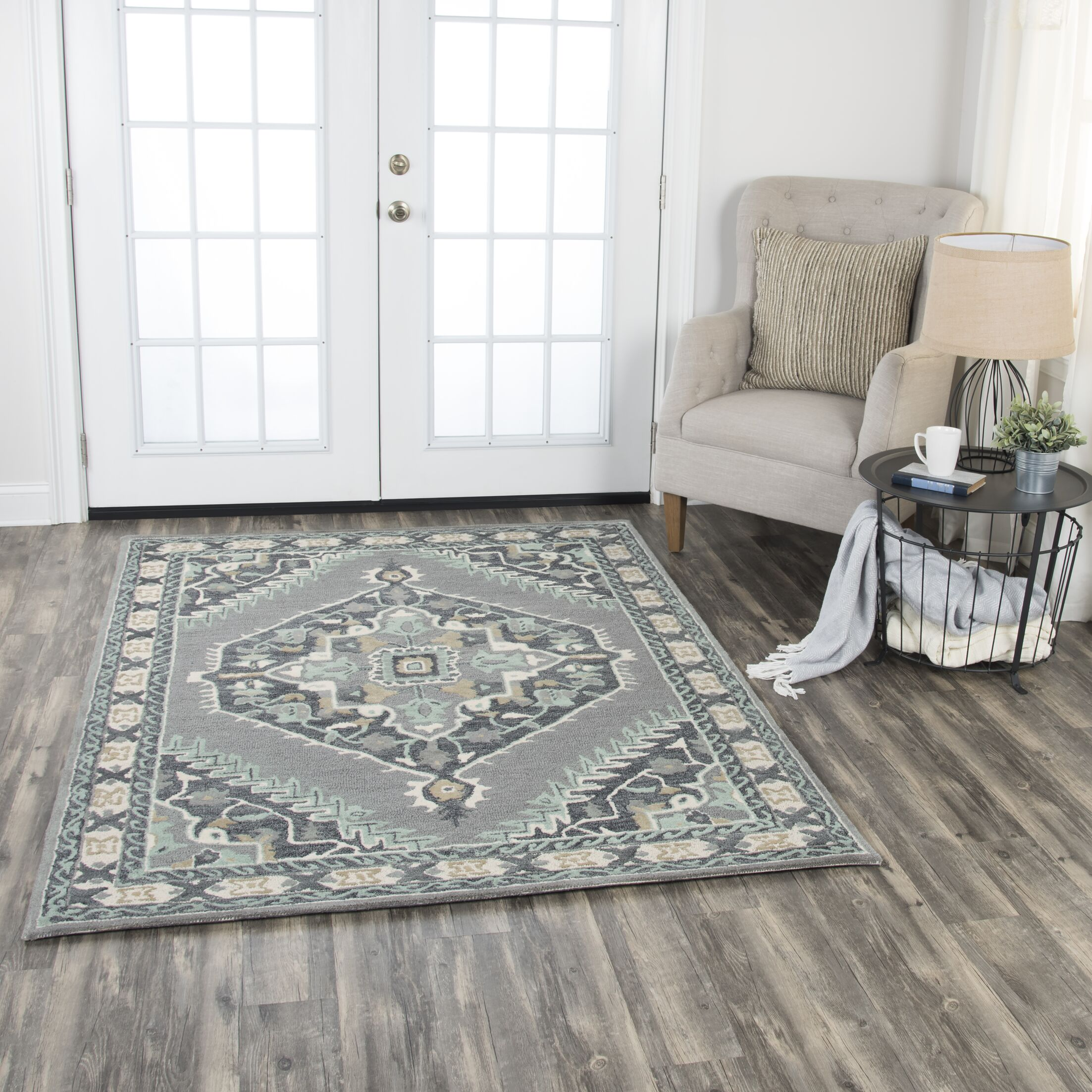 Genny Rustic Hand-Tufted Wool Gray Area Rug Rug Size: 5' x 7'