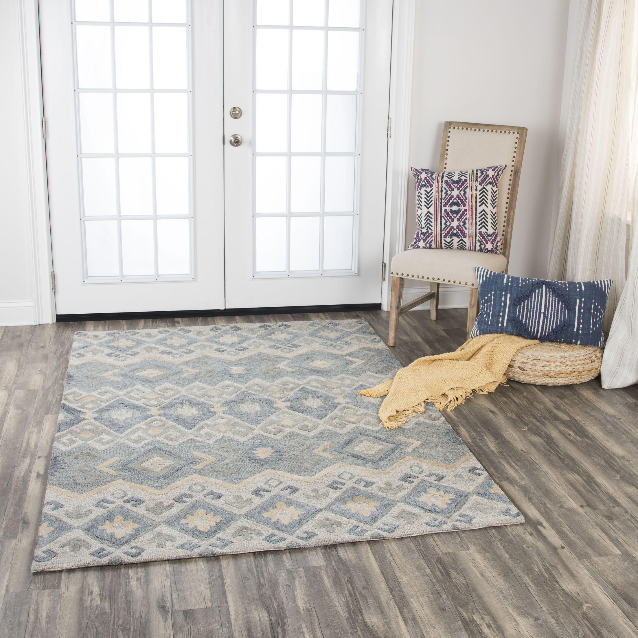 Pittard Geometric Hand-Tufted Wool Gray Area Rug Rug Size: 8' x 10'