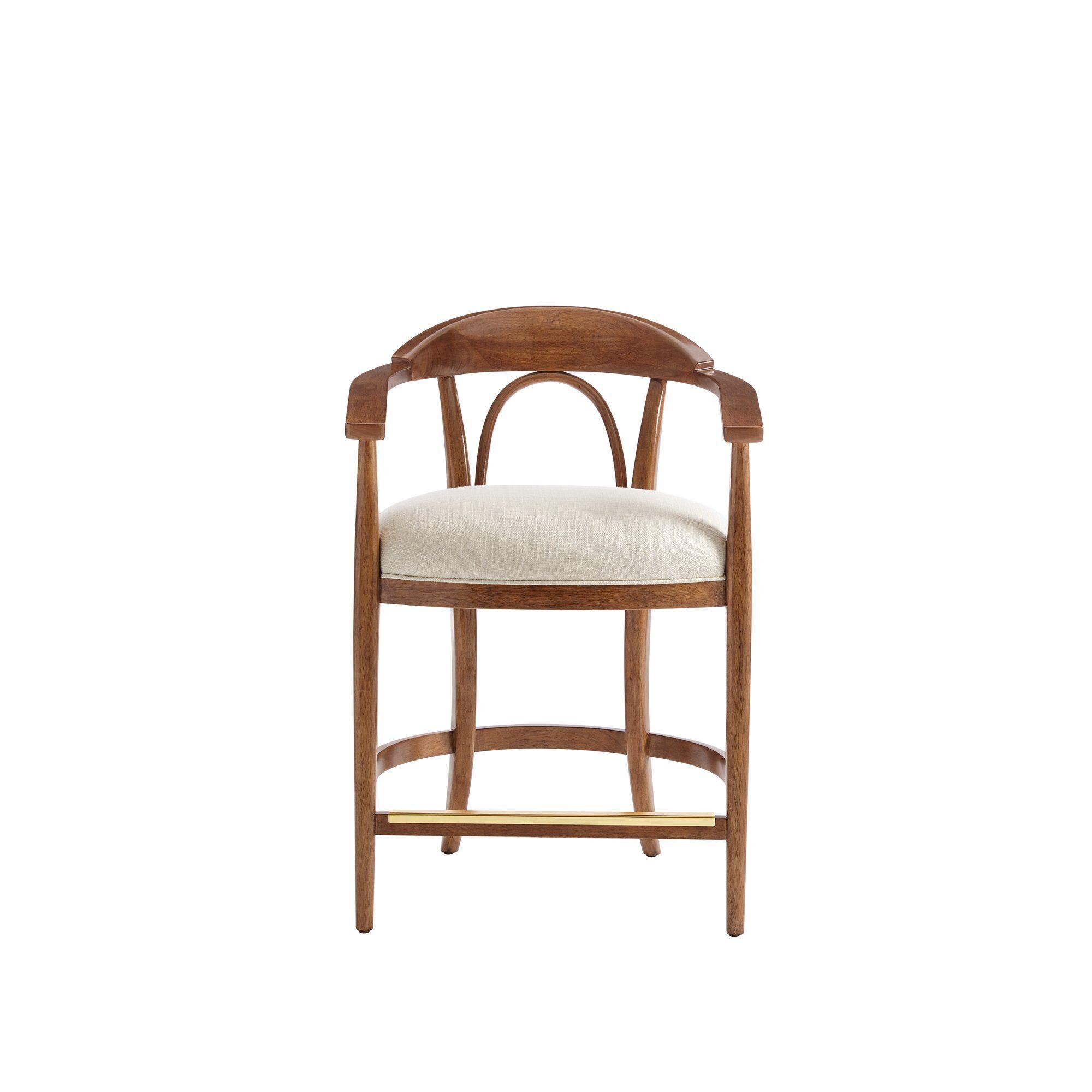Panavista 35'' Bar Stool Upholstery: Bone, Color: Goldenrod