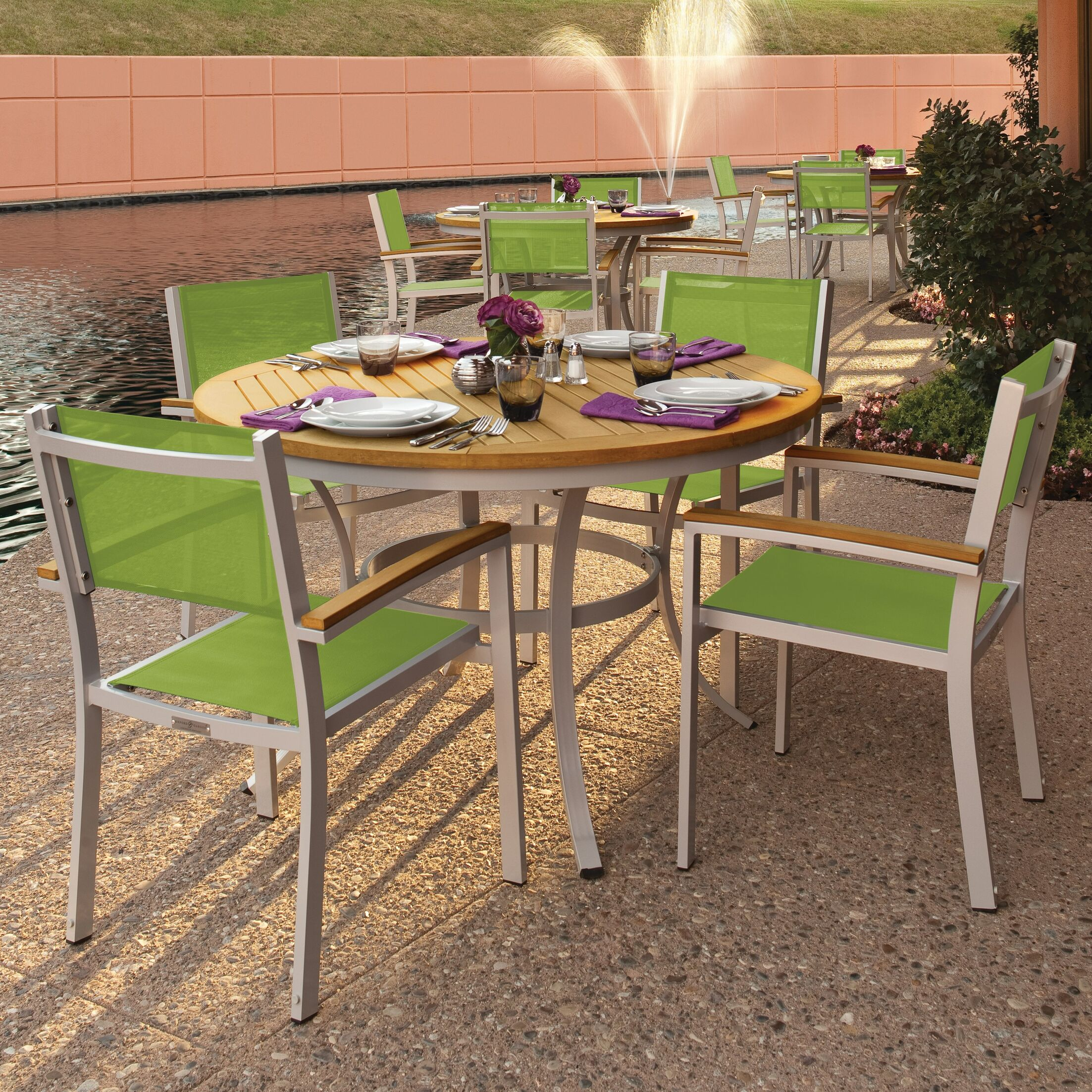 Farmington 5 Piece Dining Set with Green Sling Back chairs Finish: Natural