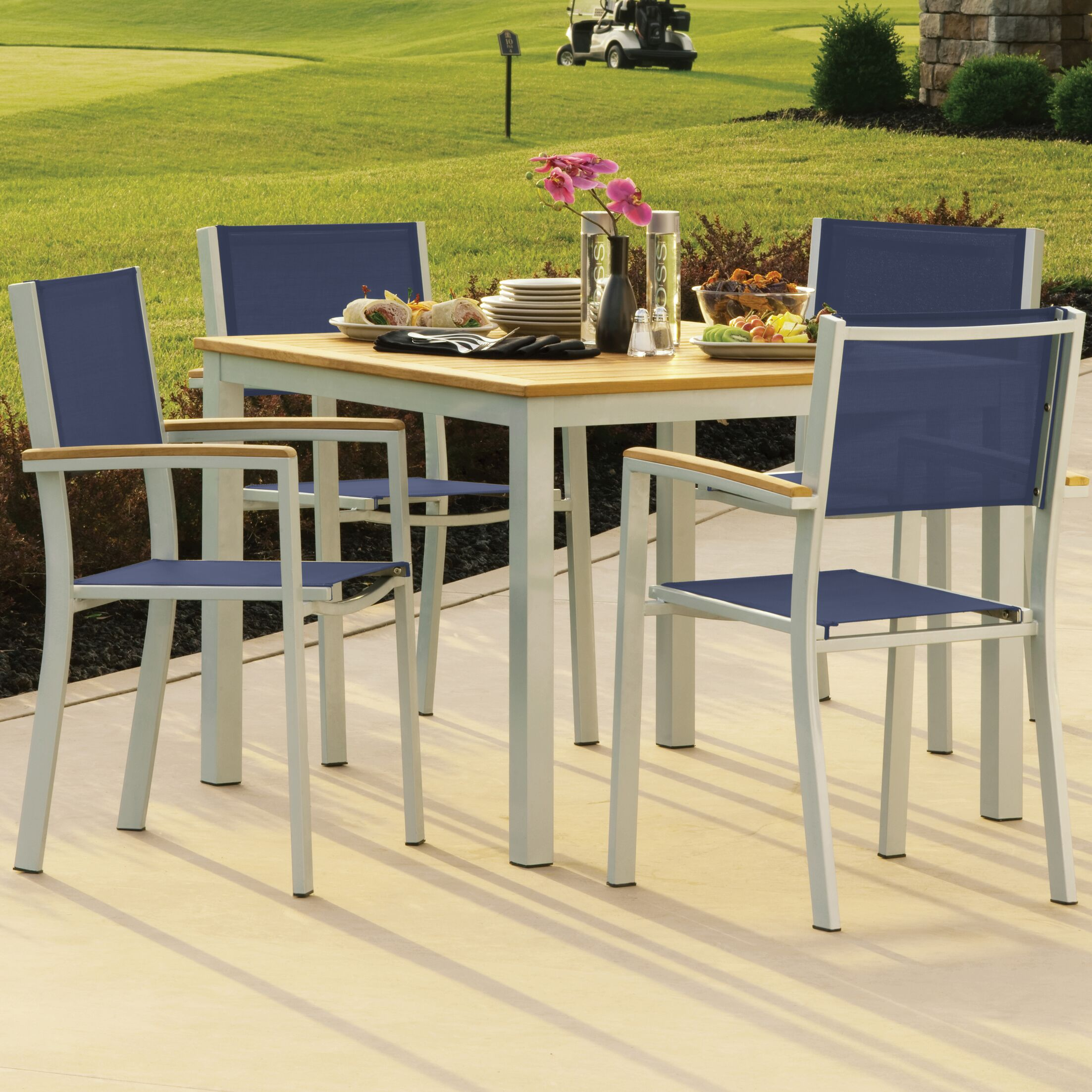Farmington 5 Piece Dining Set With Ink Sling Back chairs Finish: Natural Tekwood