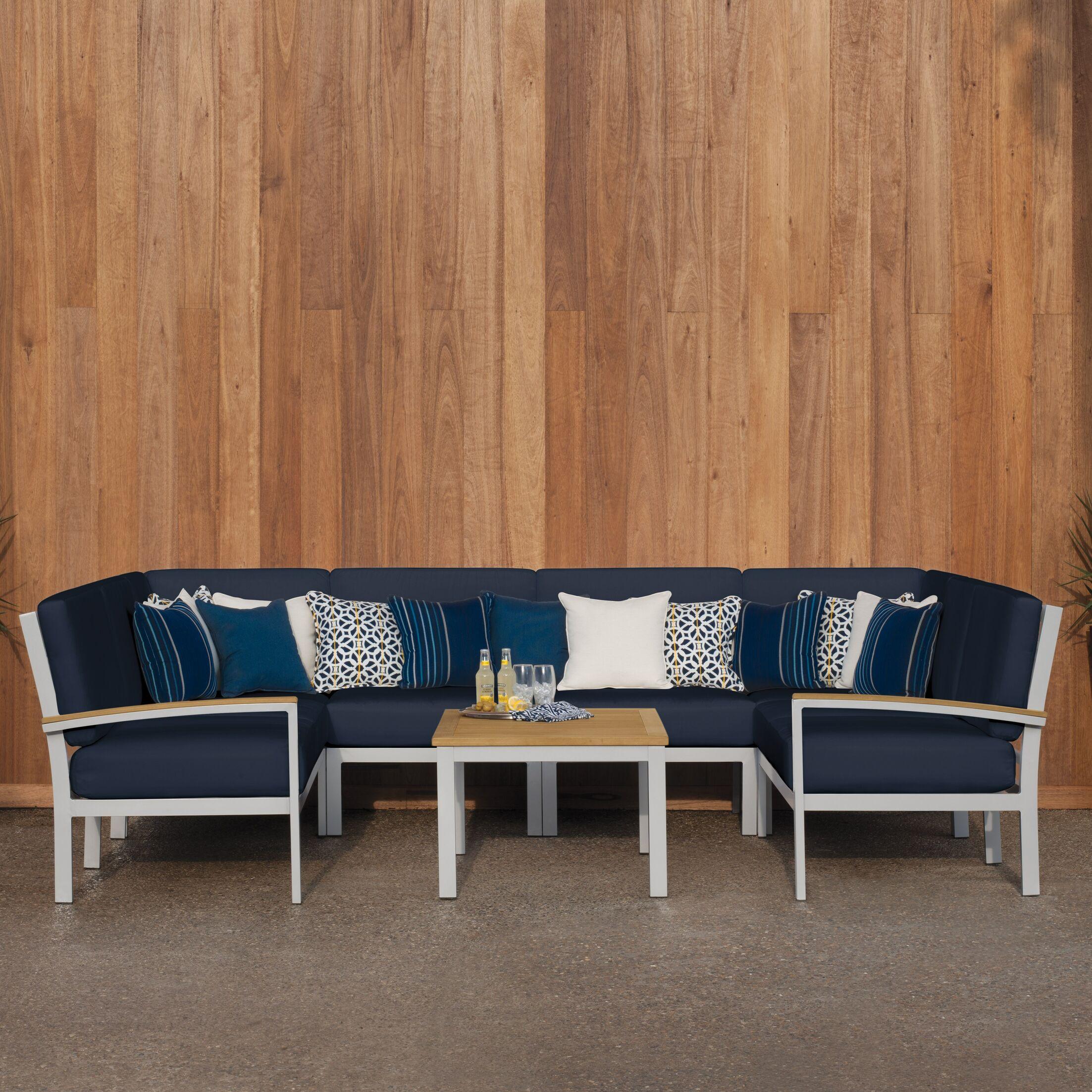 Farmington  Piece Sectional Set with Cushions Fabric: Midnight Blue, Color: Natural Tekwood