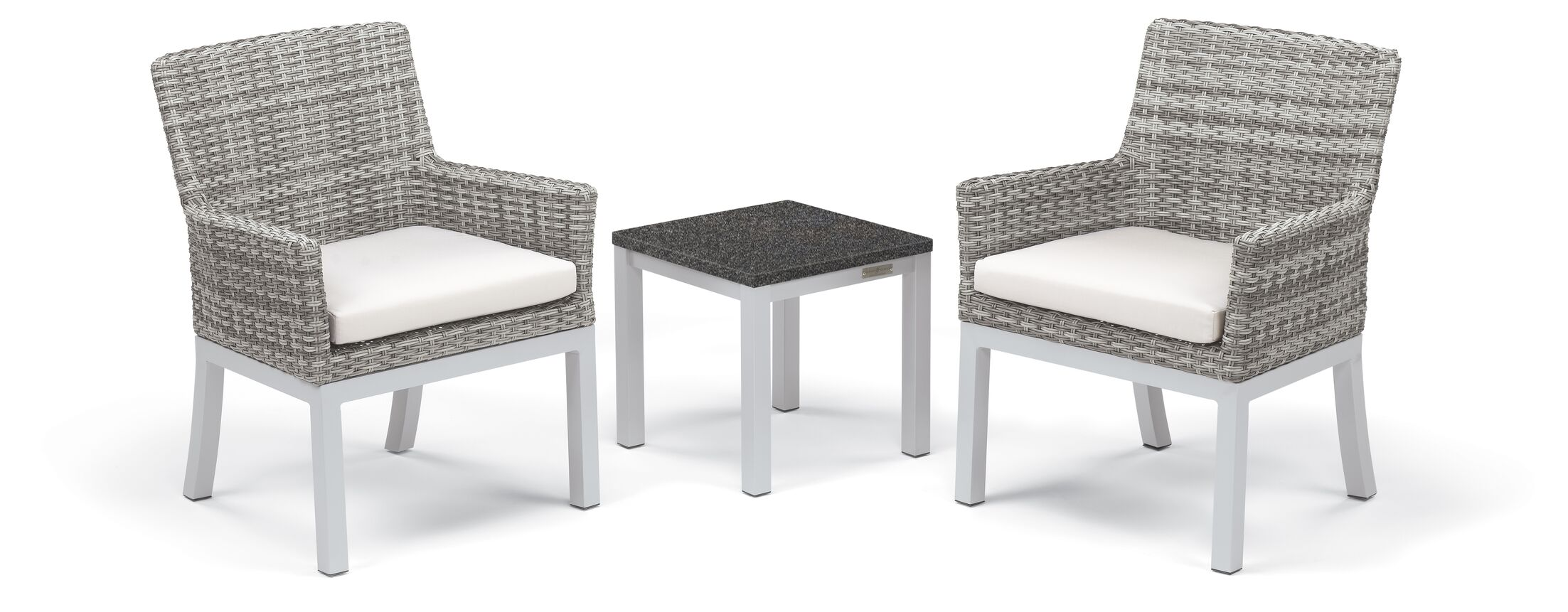Lambright 3 Piece Conversation Set with Cushions Frame Color: Charcoal, Fabric: Eggshell White