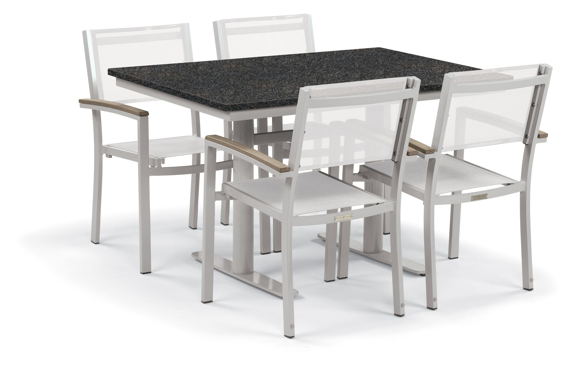 Farmington 5 Piece Teak Dining Set Finish: Ash White, Cushion Color: Go Green