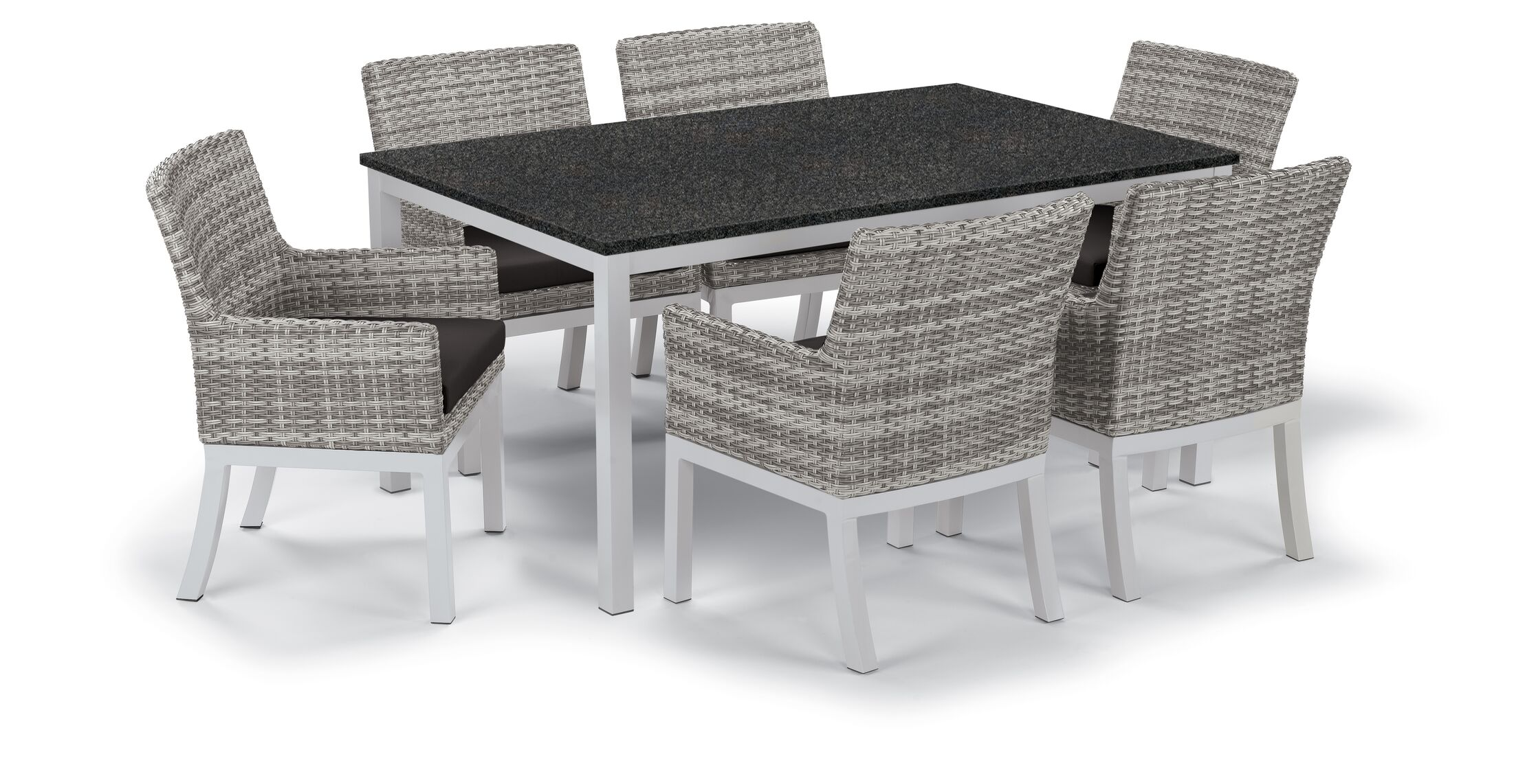 Farmington Wicker 7 Piece Dining Set Cushion Color: Jet Black, Finish: Ash