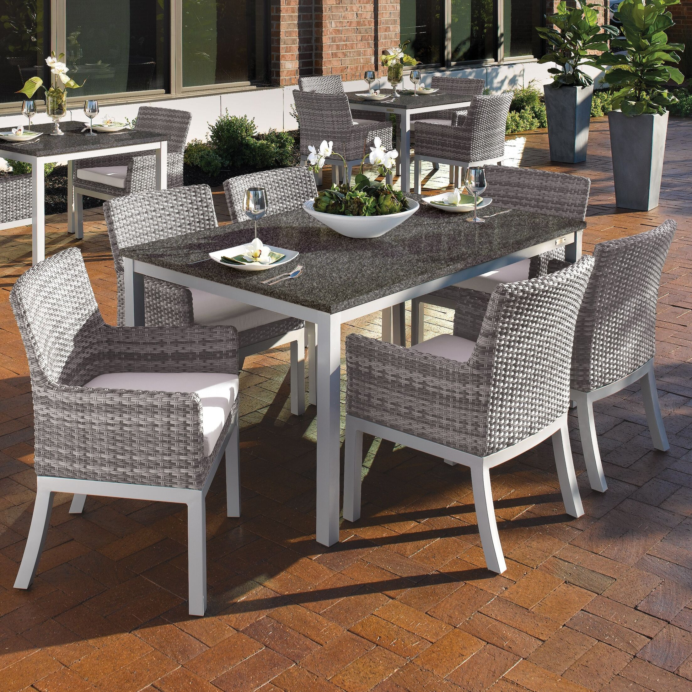 Farmington Wicker 7 Piece Dining Set Cushion Color: Eggshell White, Finish: Ash