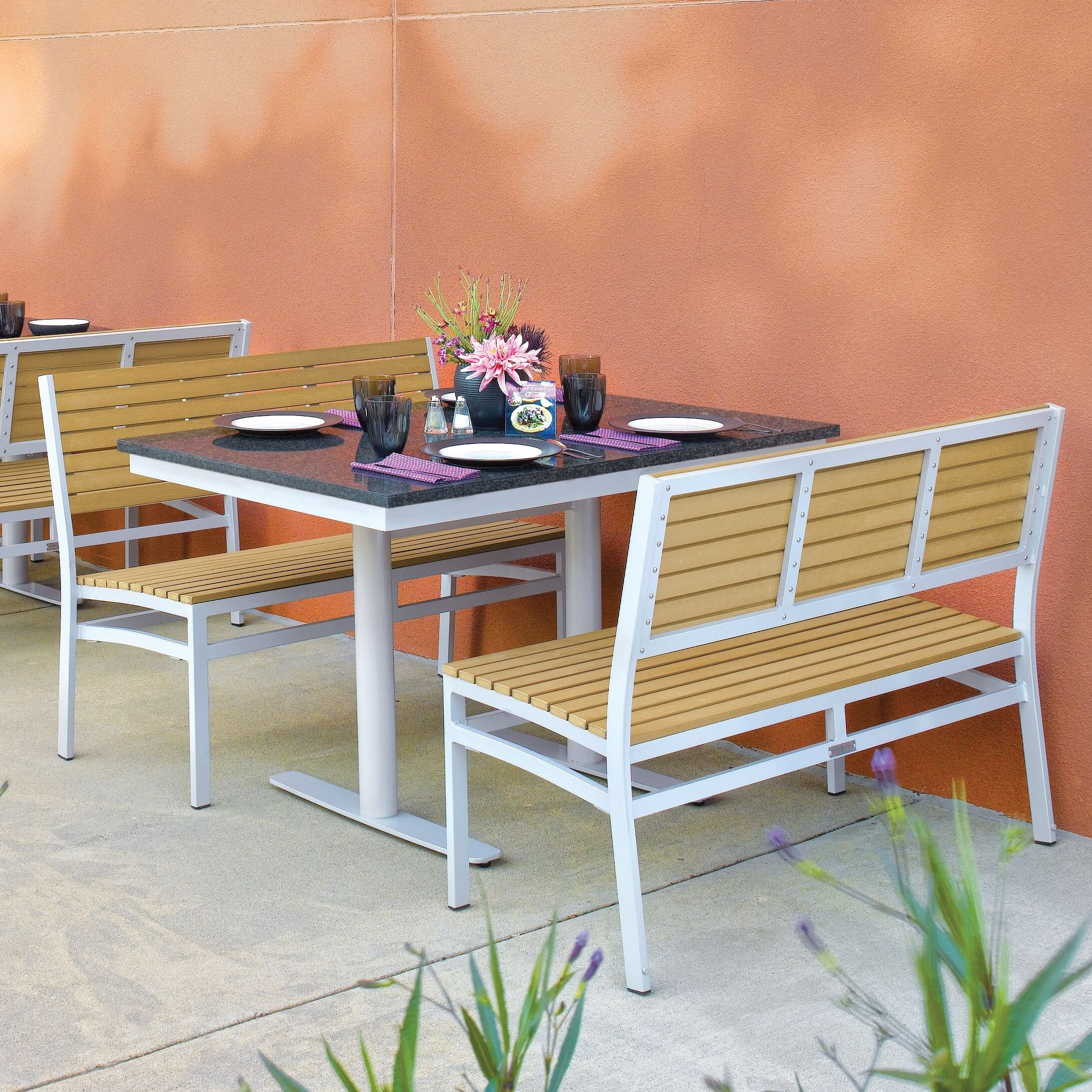 Lambright 3 Piece Teak Bistro Set Table Top Finish: Lite-Core Charcoal, Bench Finish: Tekwood Natural