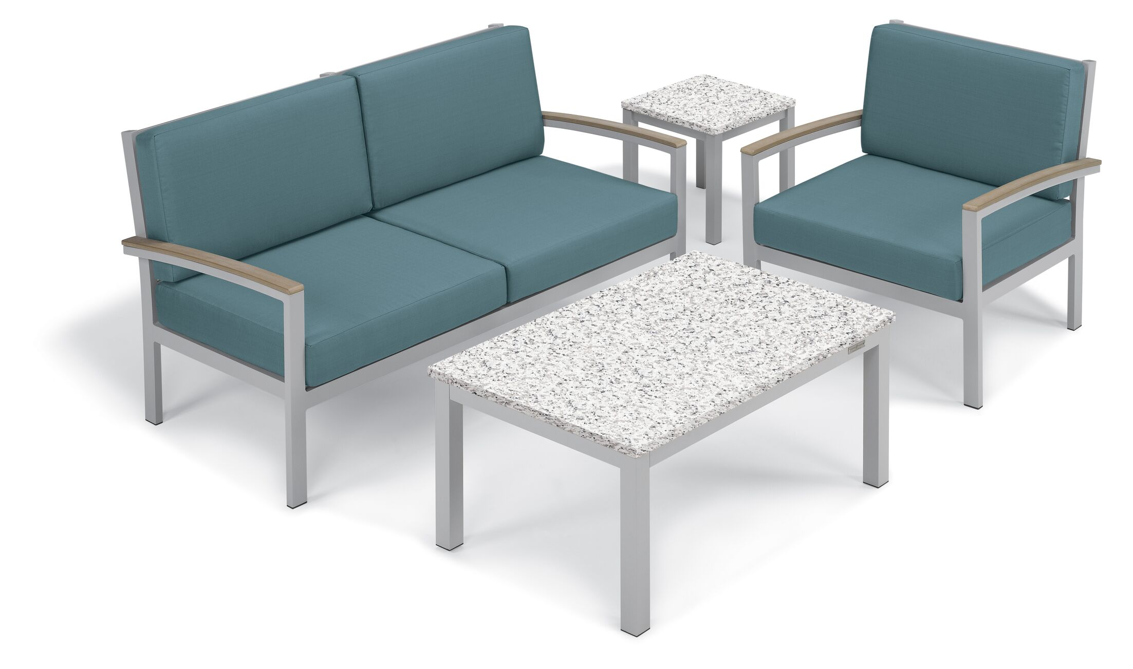 Farmington 5 Piece Sofa Set Frame Color: Vintage, Fabric: Ice Blue, Table Top Color: Ash