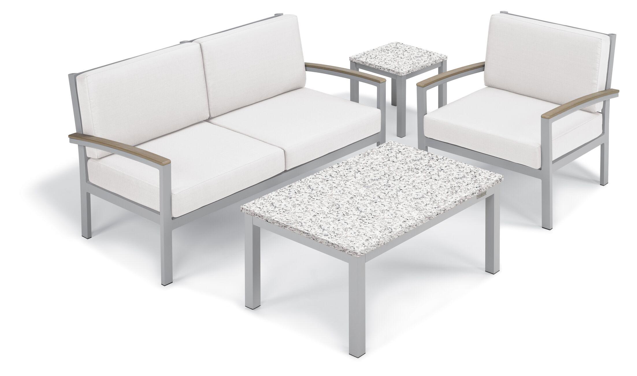 Farmington 5 Piece Sofa Set Frame Color: Vintage, Fabric: Eggshell White, Table Top Color: Ash