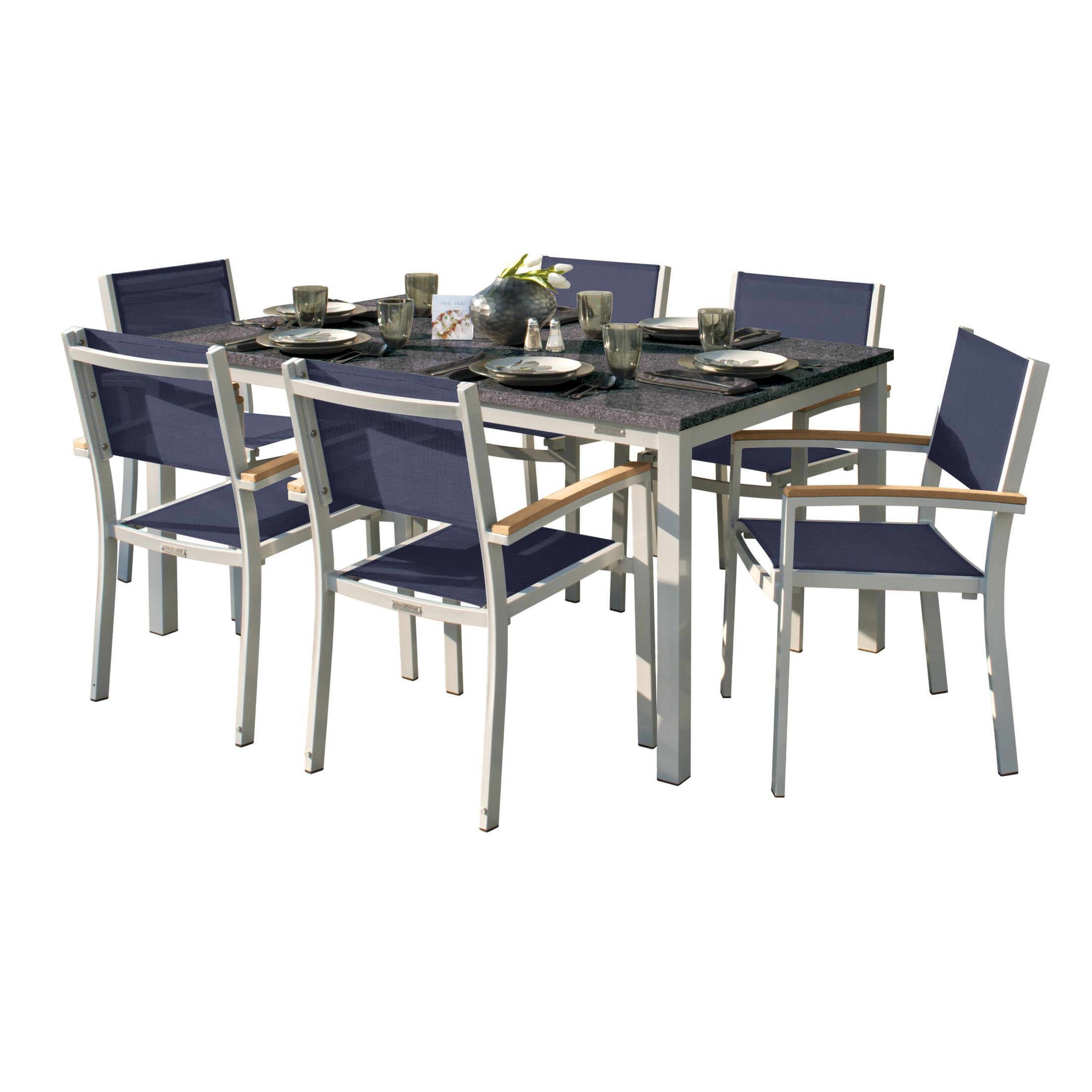 Laskowski 7 Piece Teak Dining Set Cushion Color: Ink Pen