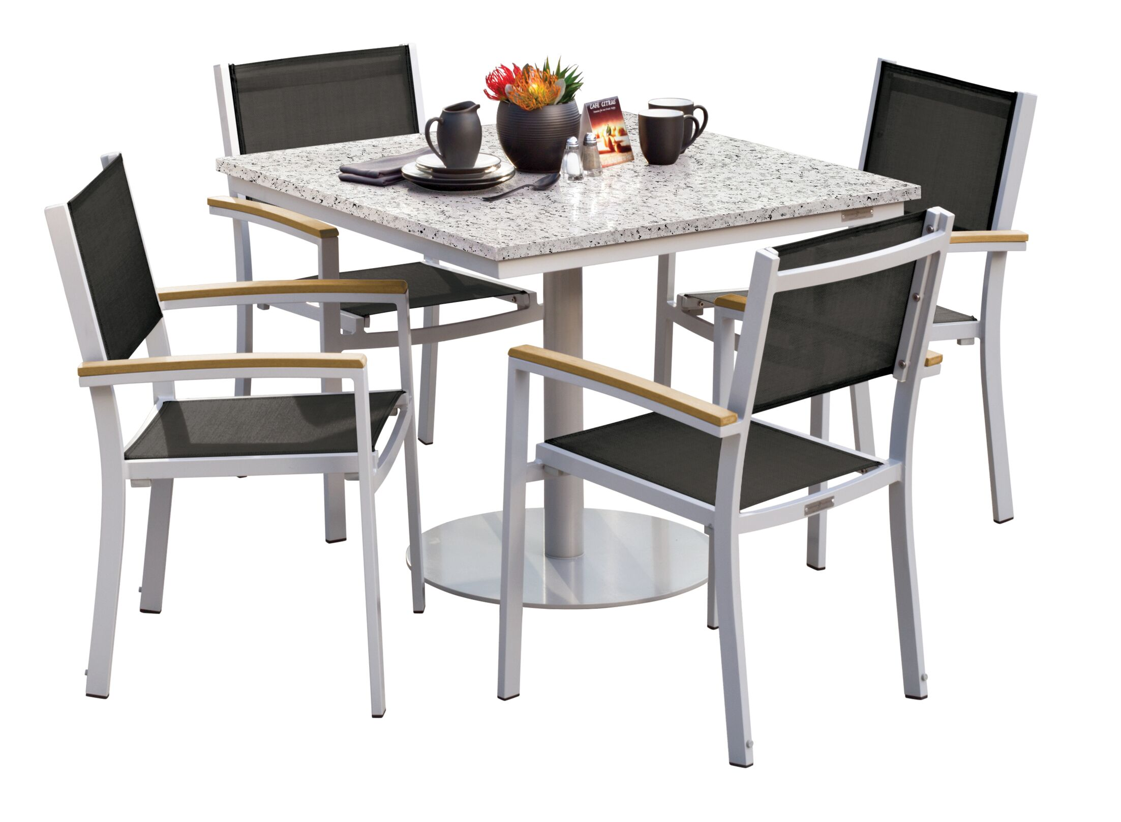 Farmington 5 Piece Dining Set with Sling Seat Chairs Cushion Color: Black, Finish: Natural