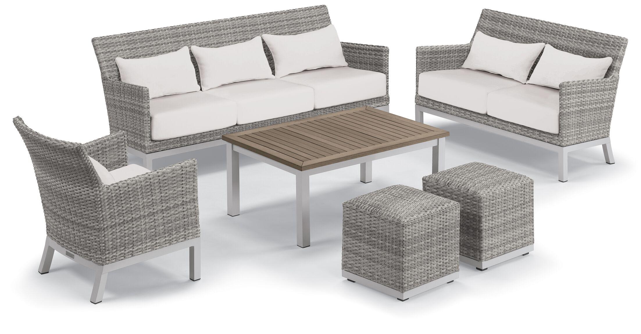 Lovejoy 6 Piece Rattan Conversation Set with Cushions Cushion Color: Stone, Table Top Color: Lite-Core Ash