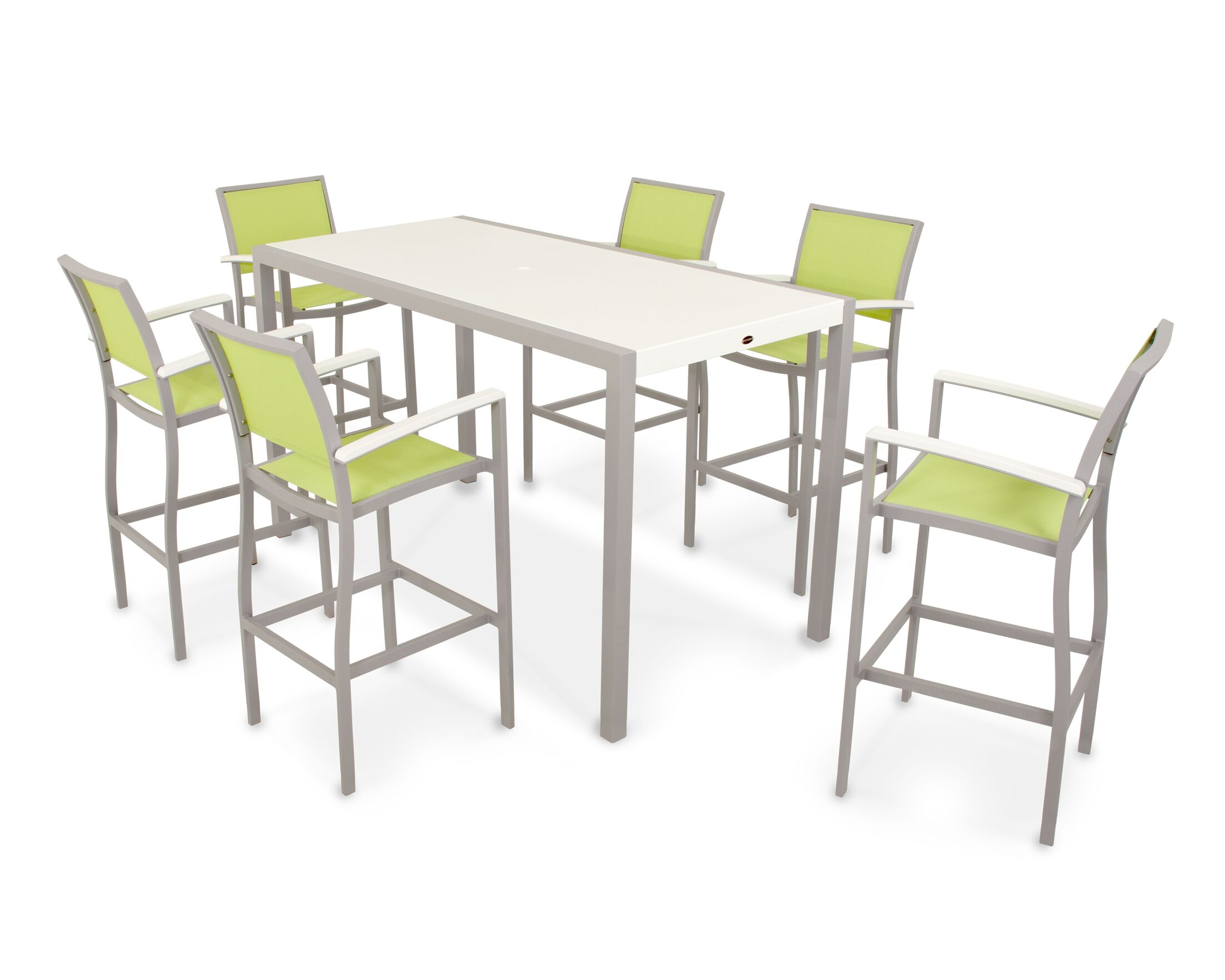 Bayline? 7 Piece Bar Height Dining Set Finish: Textured Silver / White, Fabric: Avacado