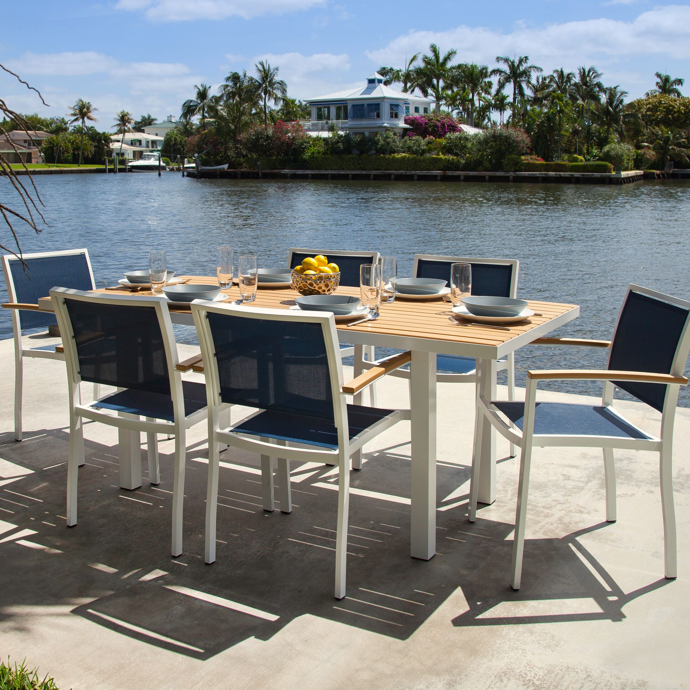 Bayline? 7 Piece Teak Dining Set Finish: Satin White, Fabric: Navy Blue
