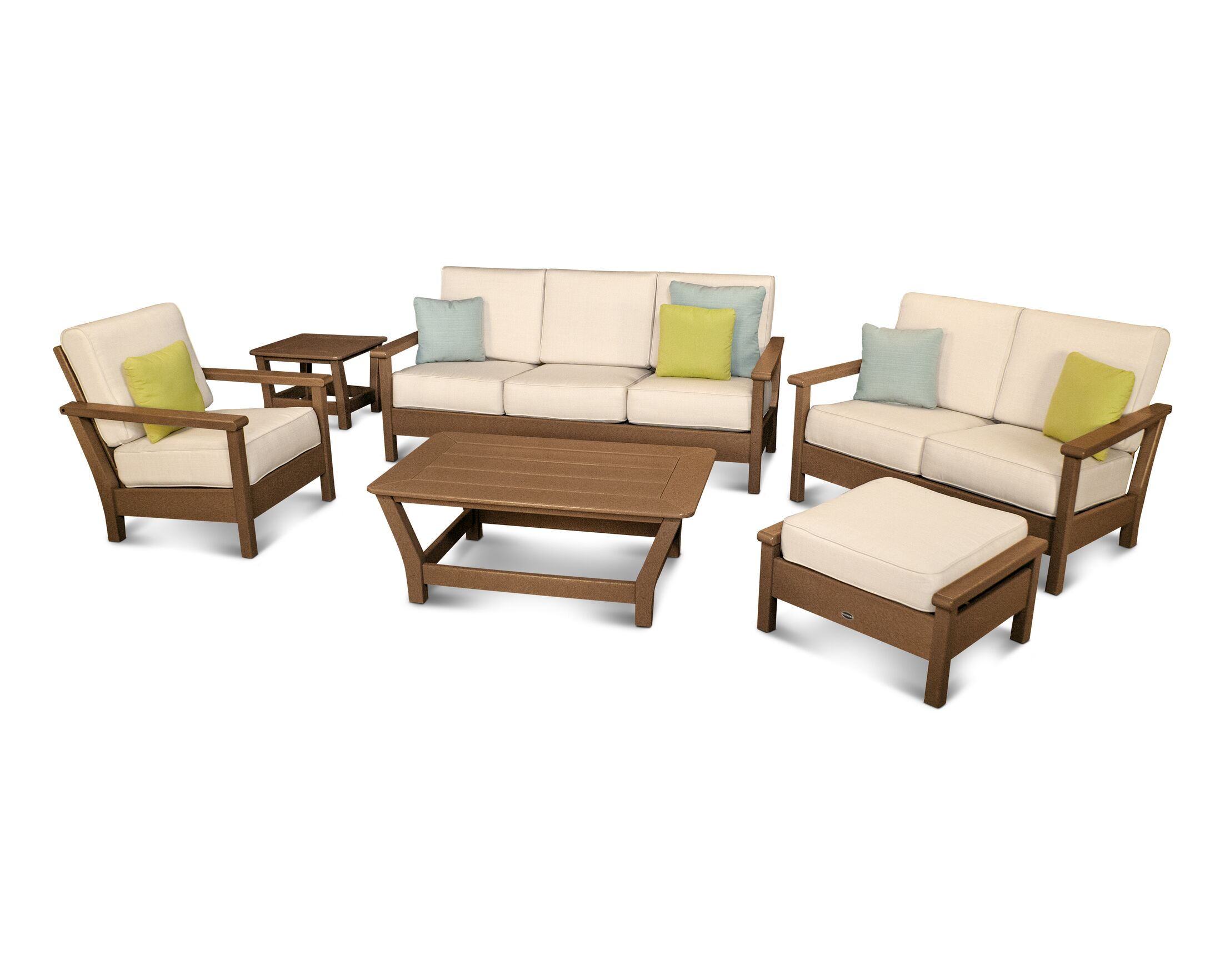 Harbour 6 Piece Sunbrella Conversation Set with Cushions Color: Teak / Antique Beige