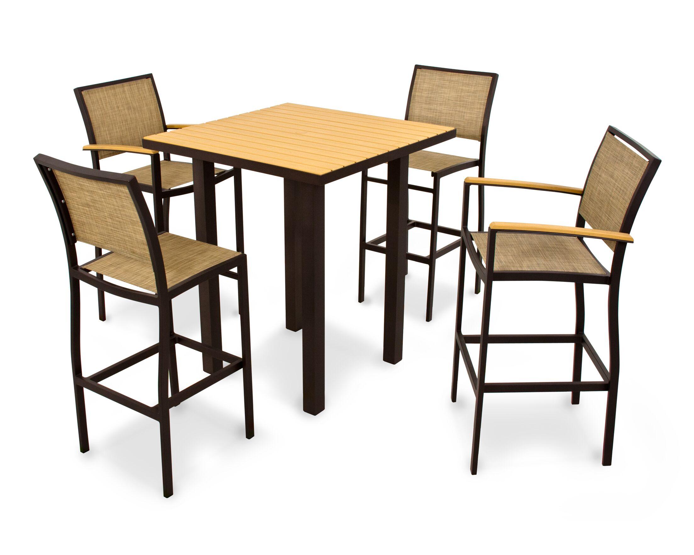 Bayline? 5 Piece Bar Height Dining Set Finish: Textured Bronze, Fabric: Burlap