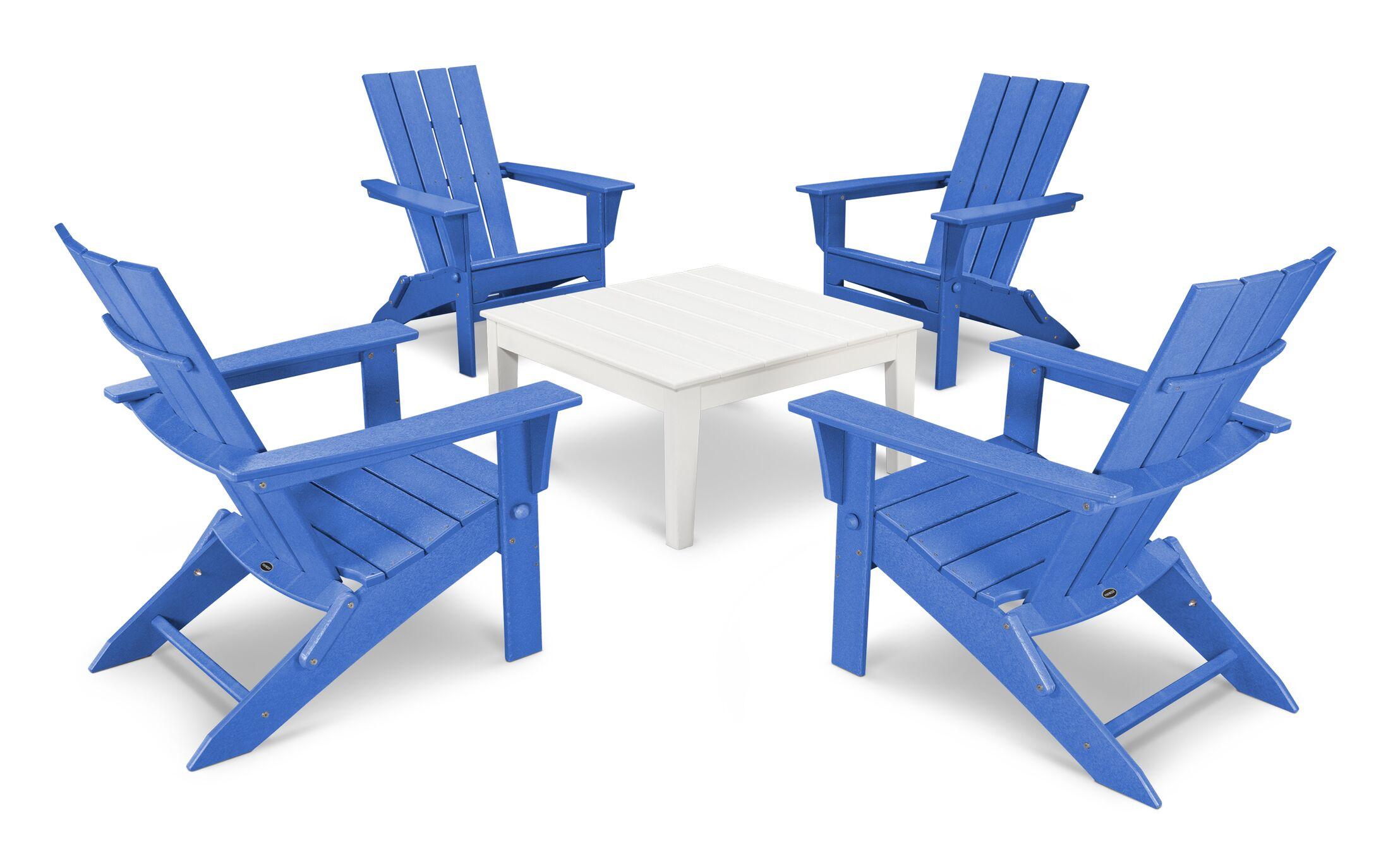 Quattro 5 Piece Dining Set Finish: White/Pacific Blue
