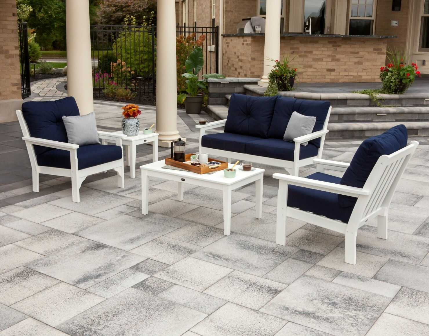 Vineyard 5 Piece Sunbrella Sofa Set with Cushions Frame Color: Slate Gray, Fabric: Natural