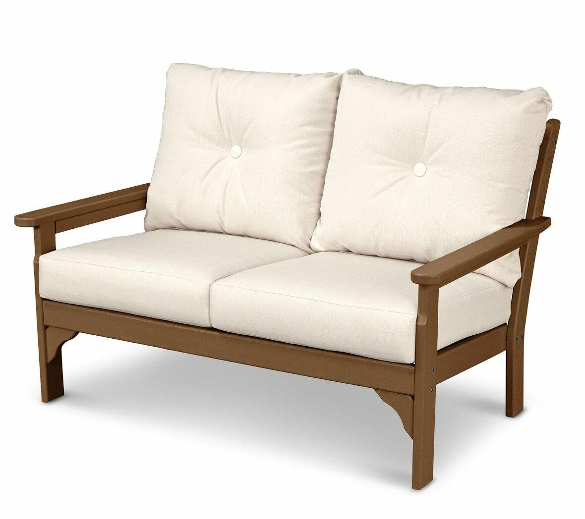 Vineyard Deep Seating Settee Loveseat with Cushions Finish: Mahogany, Fabric: Sesame