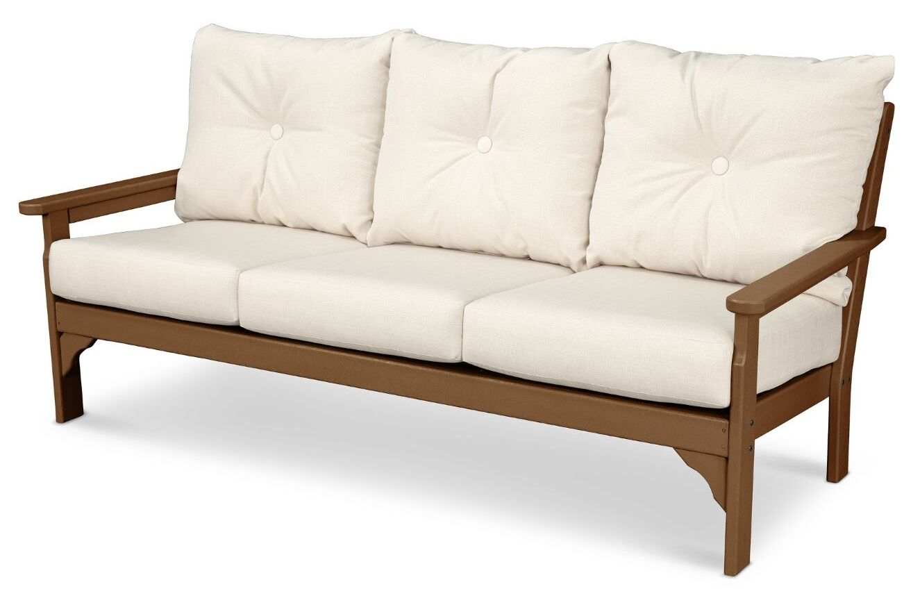 Vineyard Deep Seating Sofa with Cushions Finish: Teak, Fabric: Antique Beige