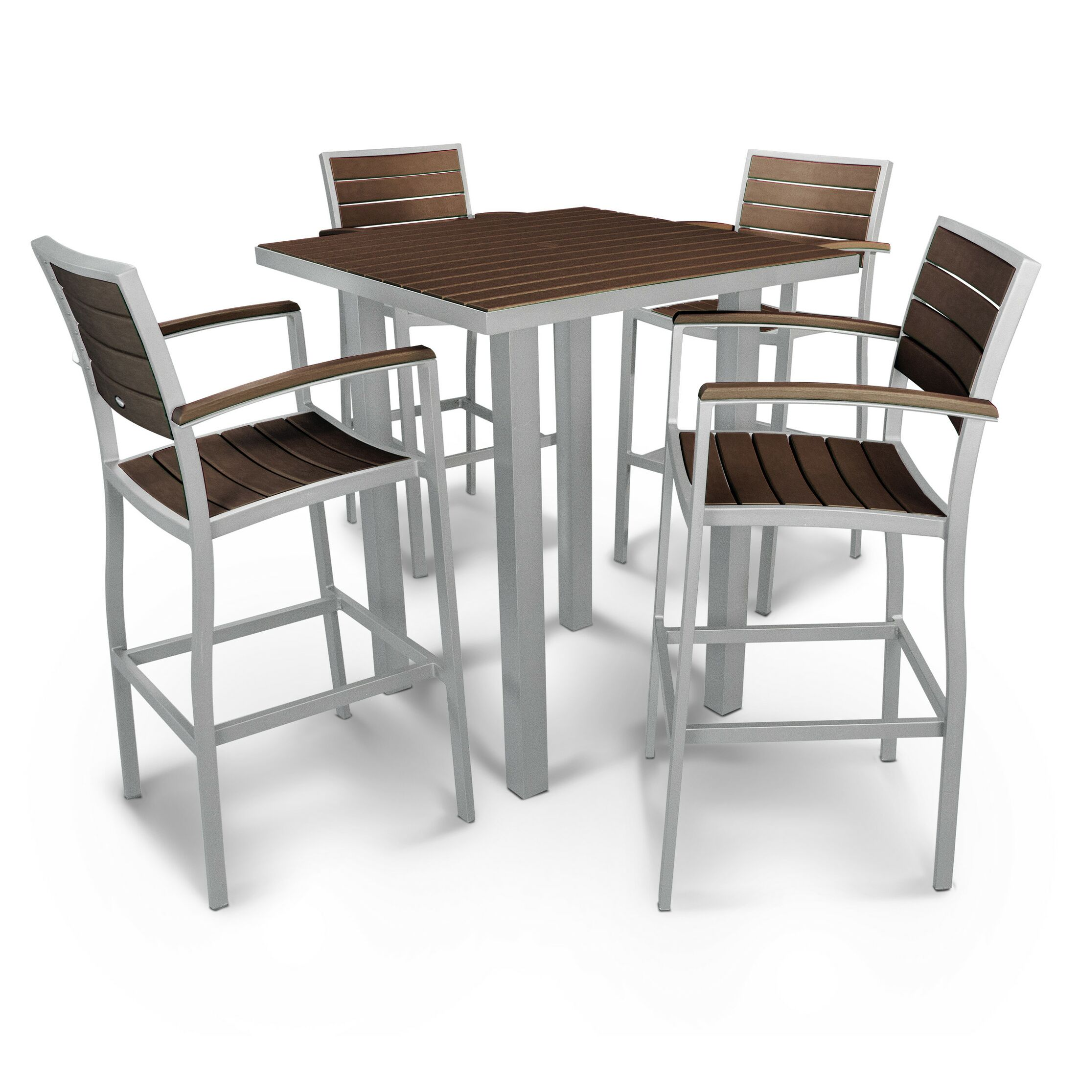 Euro 5 Piece Bar Height Dining Set Finish: Textured Silver, Fabric: Mahogany