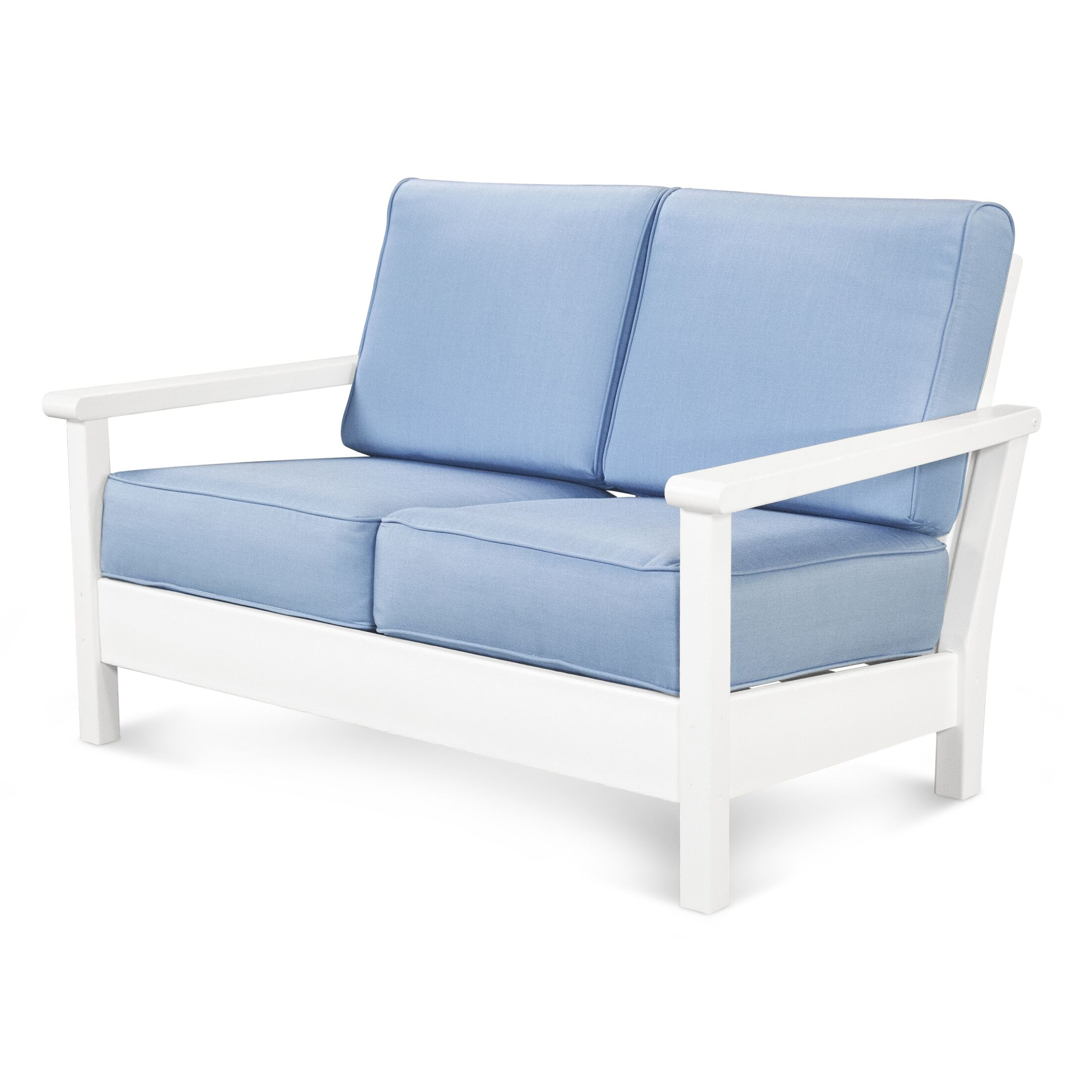 Harbour Deep Seating Loveseat with Cushion Fabric: Canvas Granite, Finish: Slate Grey