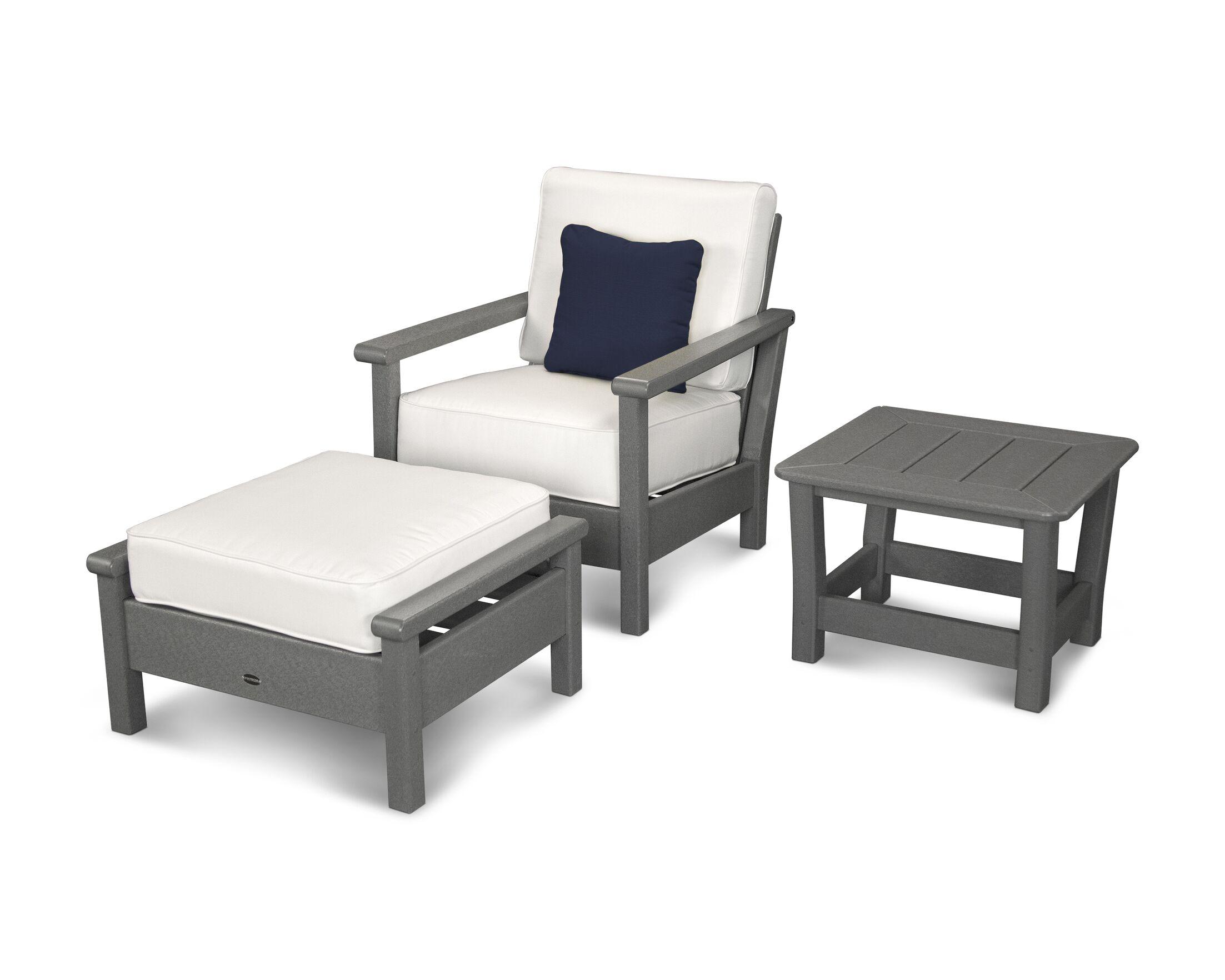 Harbour 3 Piece Sunbrella Conversation Set with Cushion Color: Slate Grey / Natural