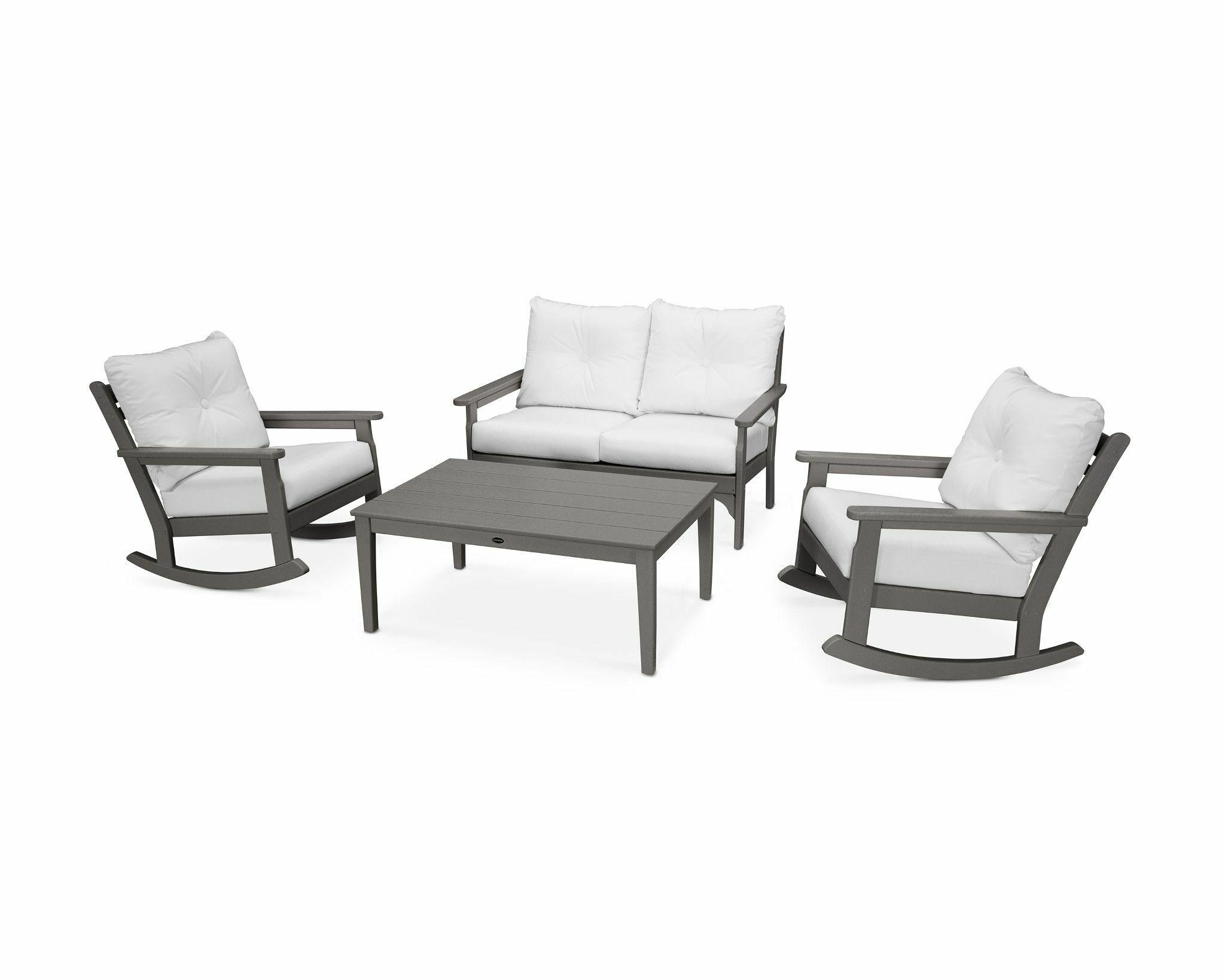 Vineyard 4 Piece Sofa Set with Sunbrella Cushions Frame Finish: Slate Gray, Fabric: Natural