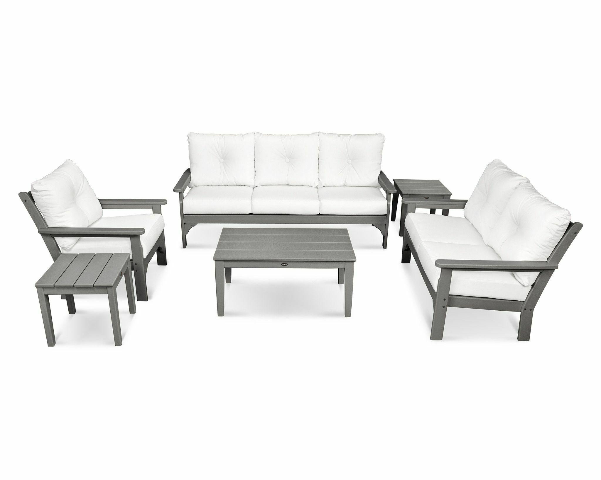 Vineyard 6 Piece Sunbrella Sofa Set with Cushion Frame Color: Slate Gray, Fabric: Natural