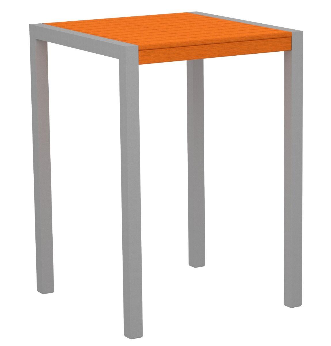 Mod Bar Table Base Finish: Textured Silver, Top Finish: Tangerine