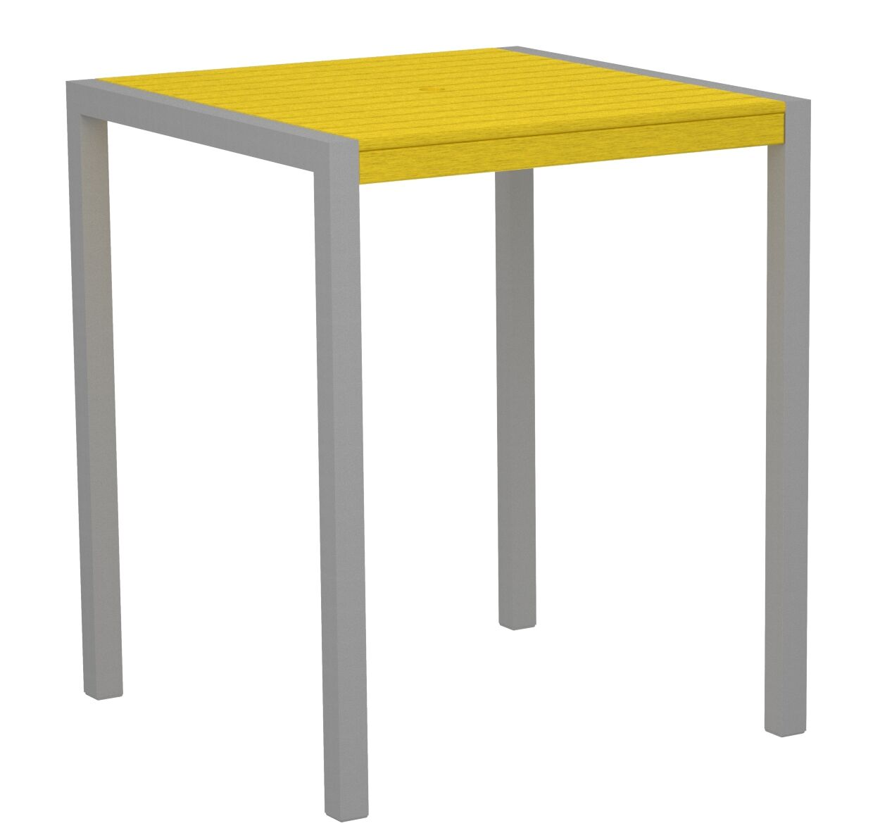 Mod Bar Table Base Finish: Textured Silver, Top Finish: Lemon