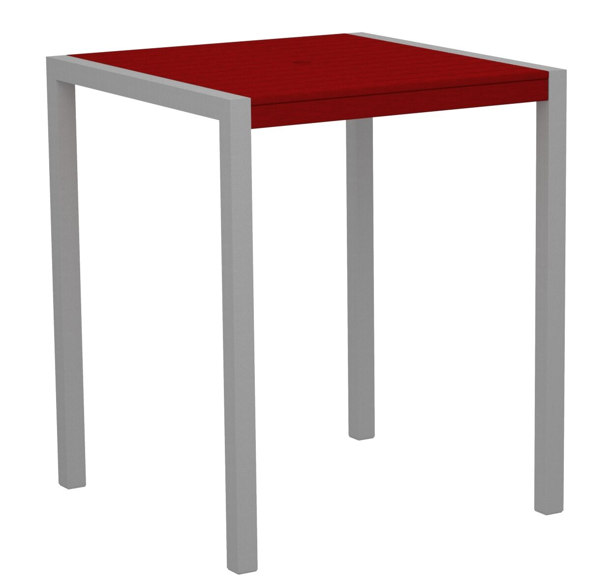 Mod Bar Table Base Finish: Textured Silver, Top Finish: Sunset Red