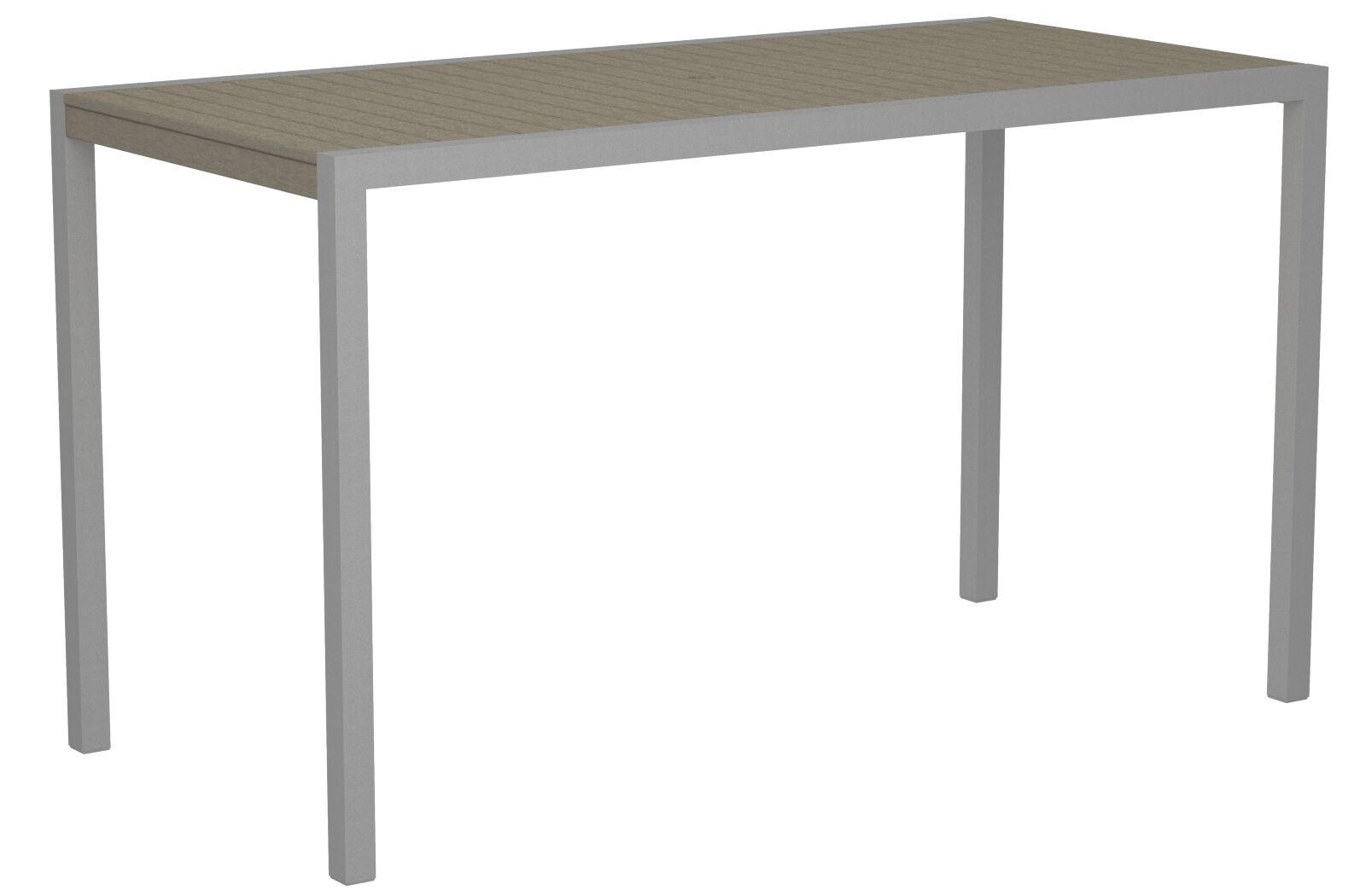 Mod Bar Table Base Finish: Textured Silver, Top Finish: Sand