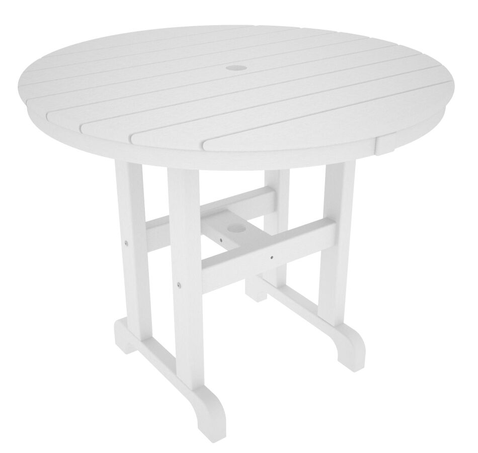 Round Dining Table Finish: White, Table Size: 48