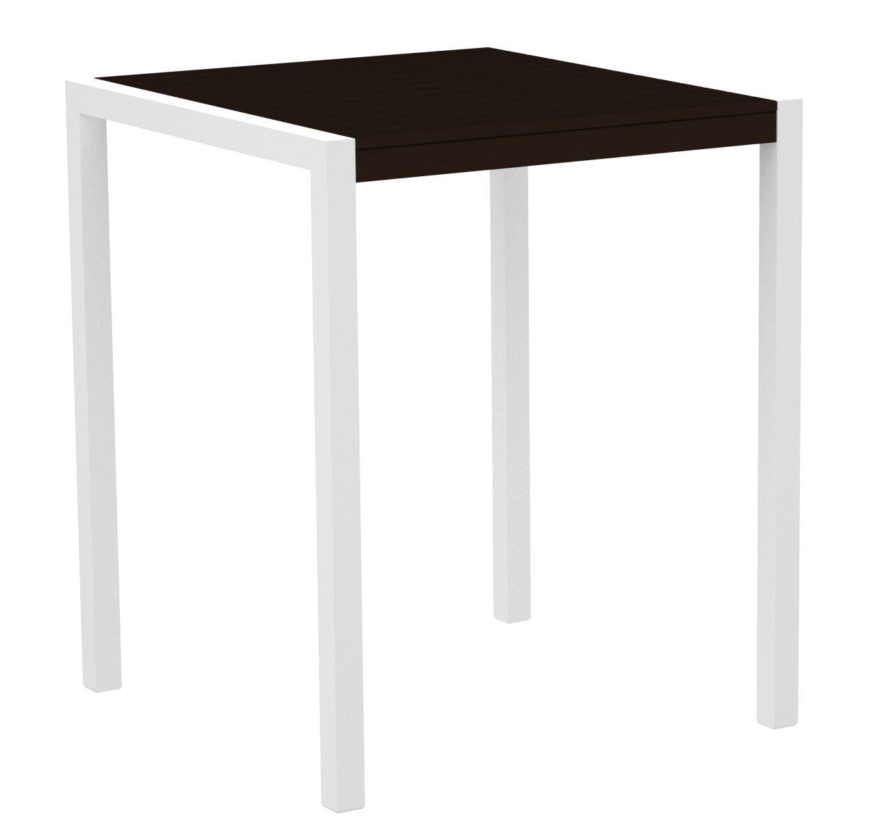 Mod Bar Table Base Finish: Textured White, Top Finish: Mahogany